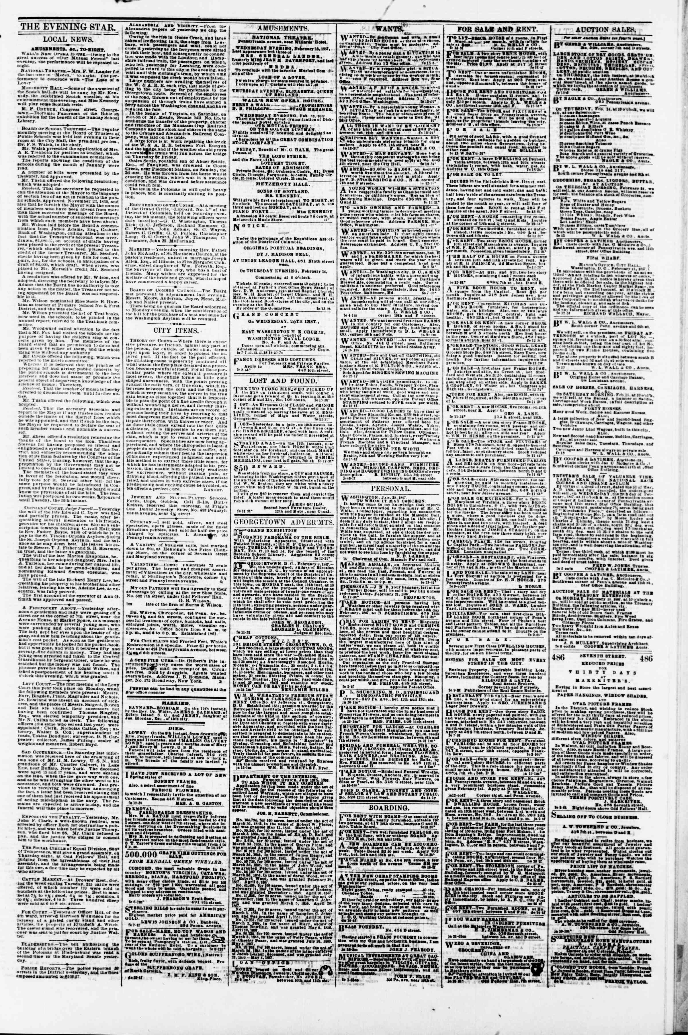 Newspaper of Evening Star dated February 13, 1867 Page 3