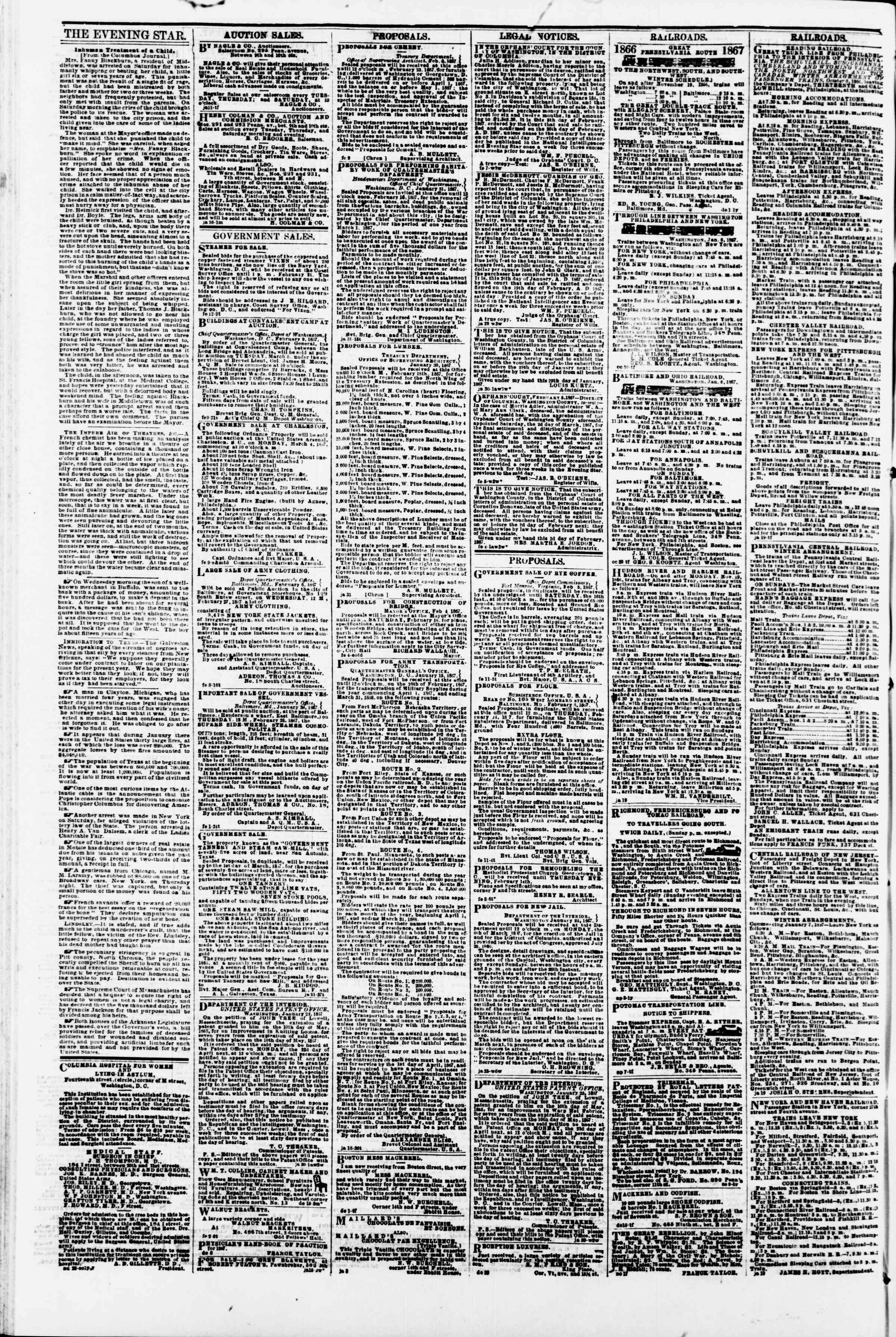 Newspaper of Evening Star dated February 13, 1867 Page 4