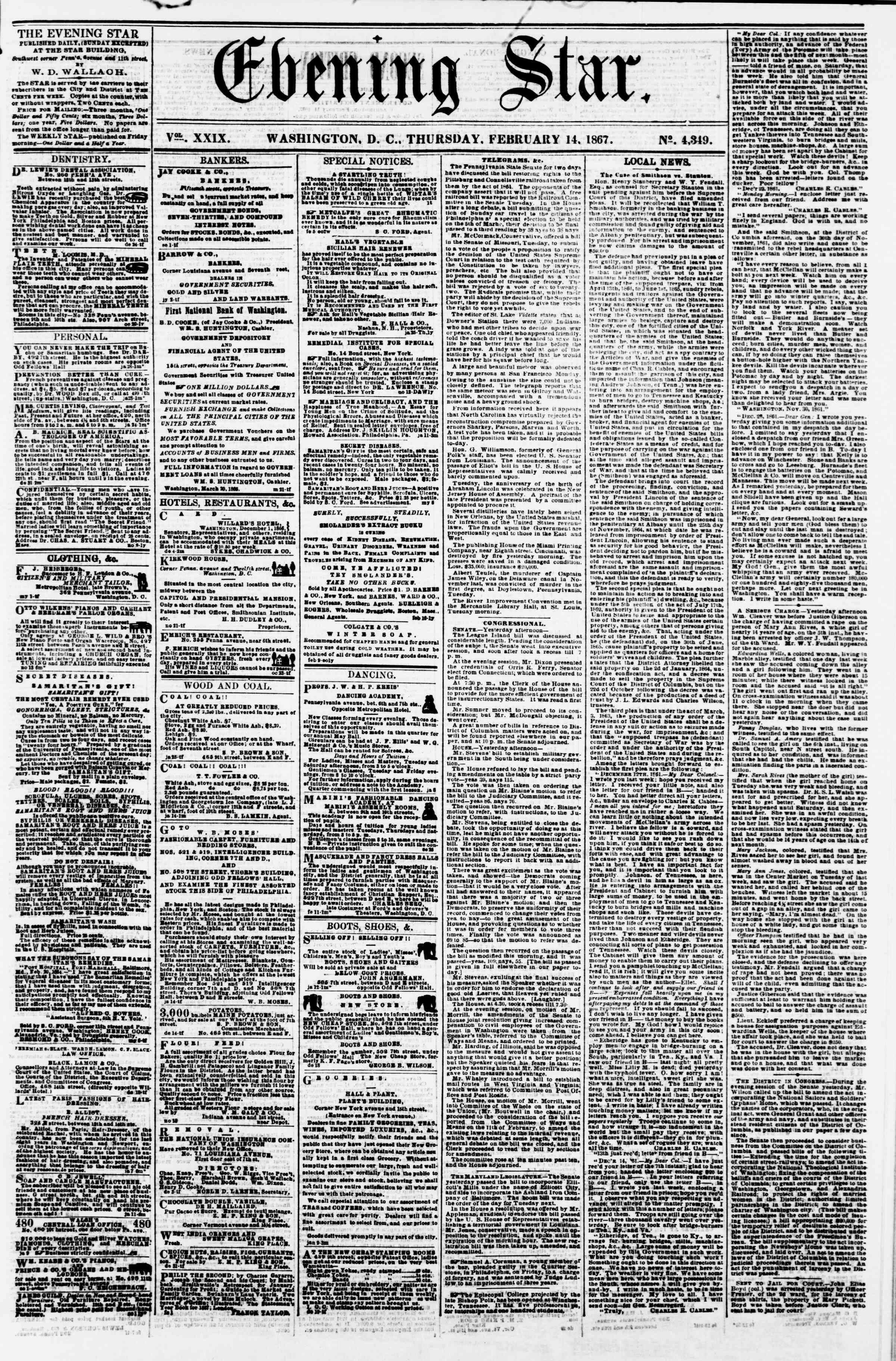 Newspaper of Evening Star dated February 14, 1867 Page 1