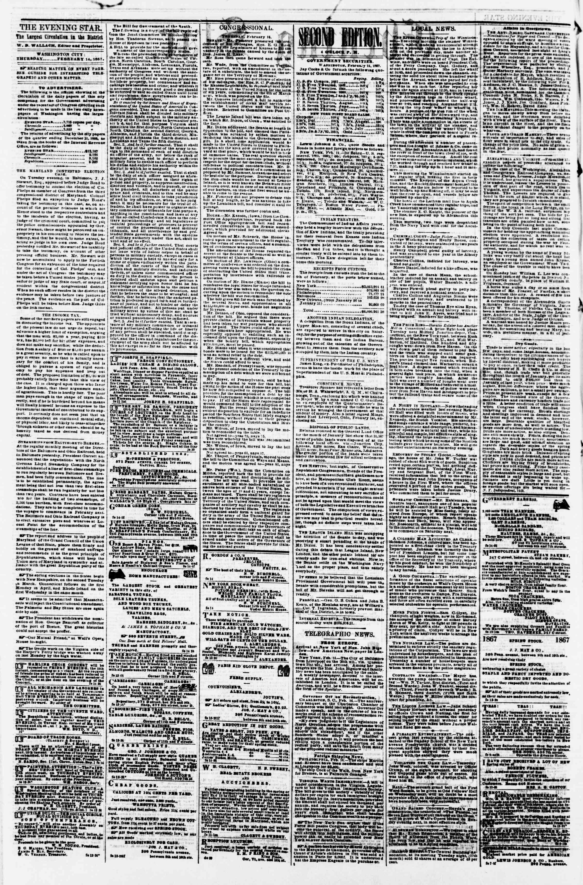 Newspaper of Evening Star dated February 14, 1867 Page 2