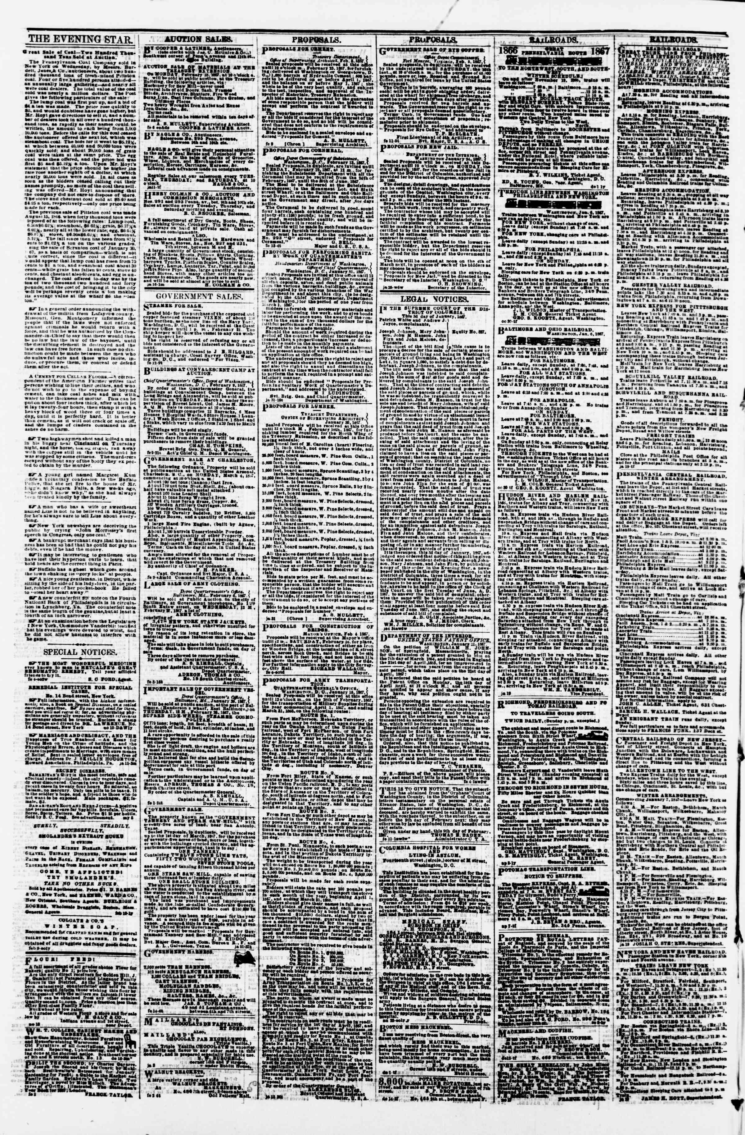 Newspaper of Evening Star dated February 15, 1867 Page 4