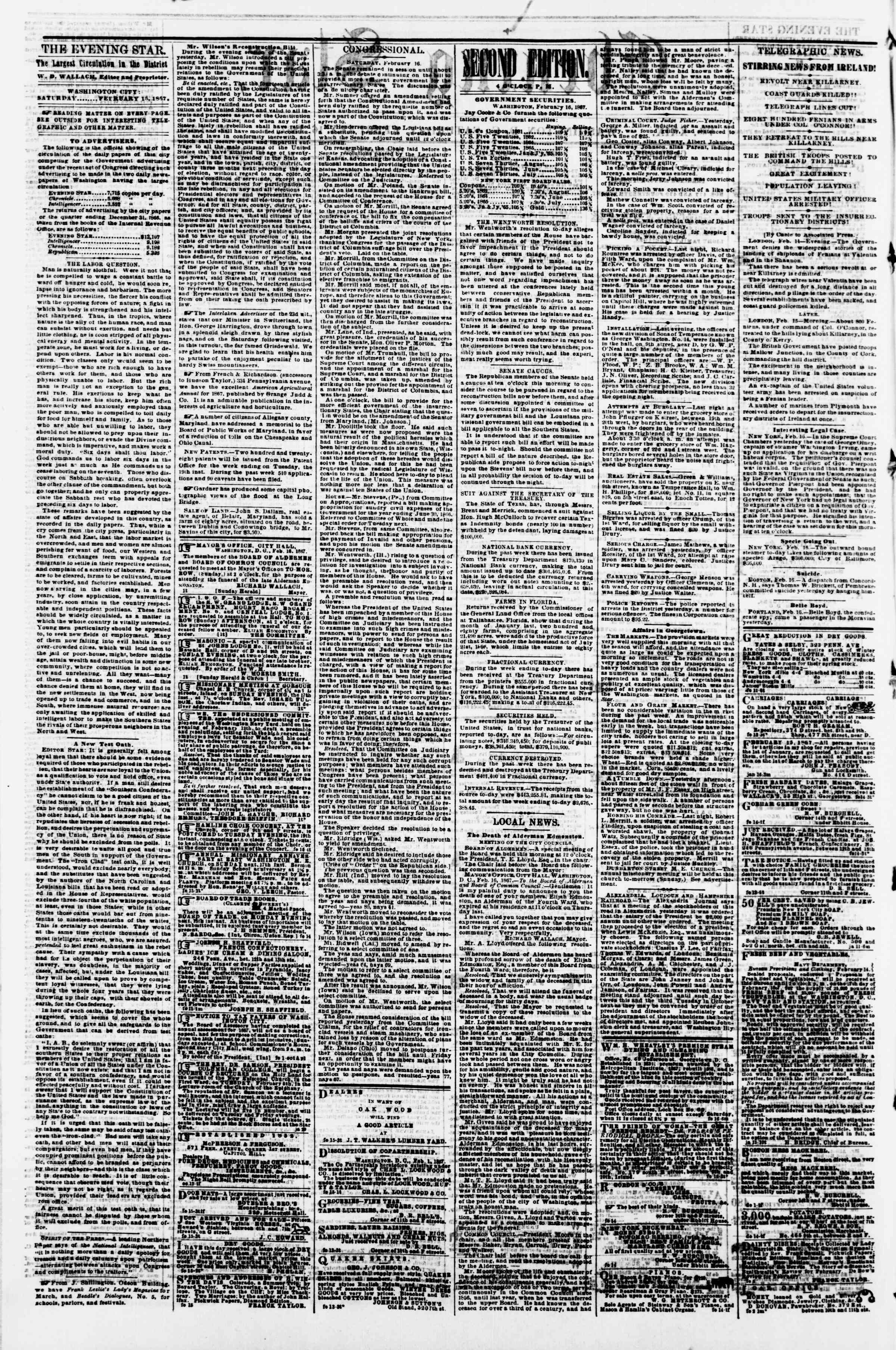 Newspaper of Evening Star dated February 16, 1867 Page 2