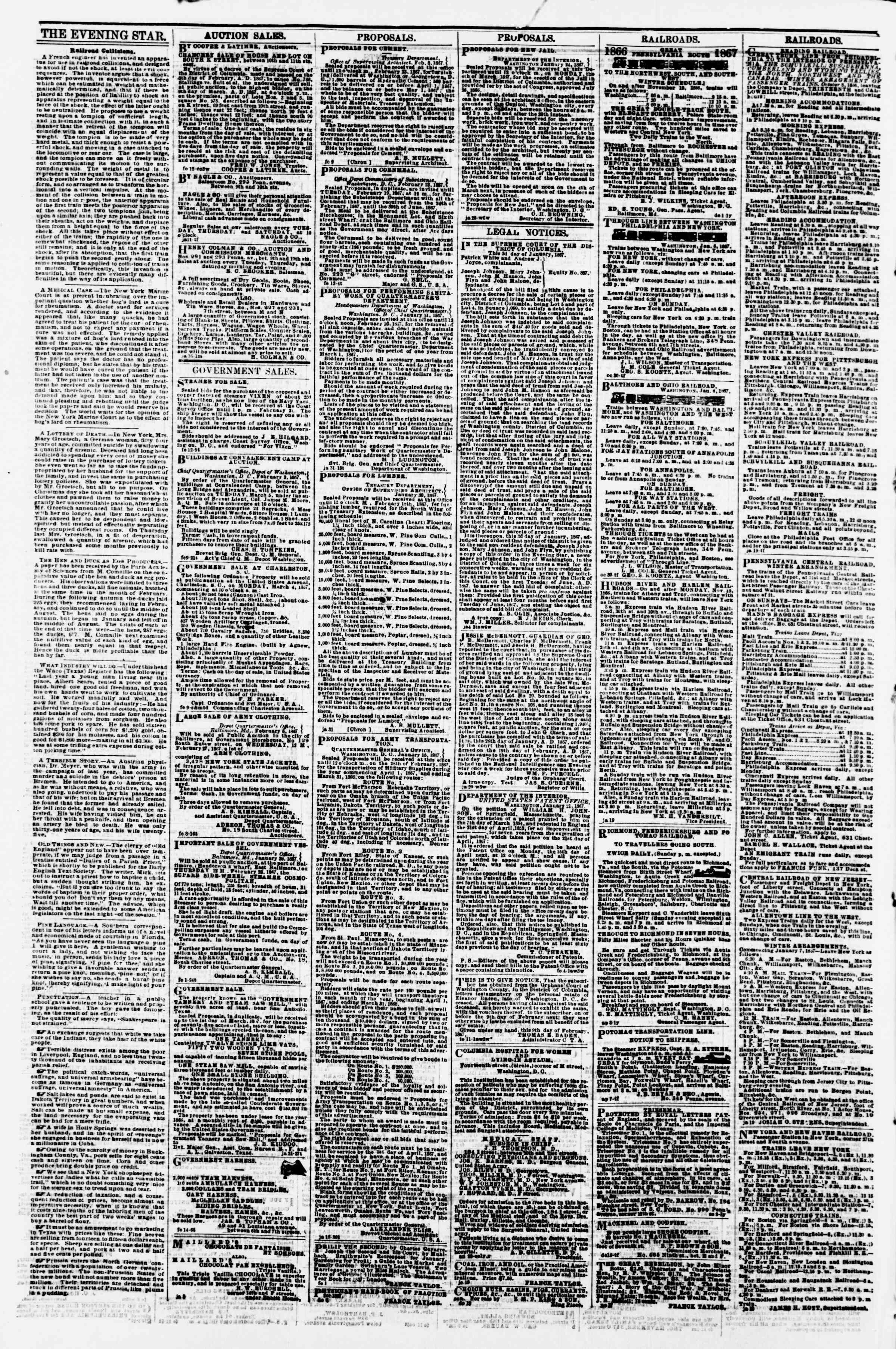 Newspaper of Evening Star dated February 16, 1867 Page 4
