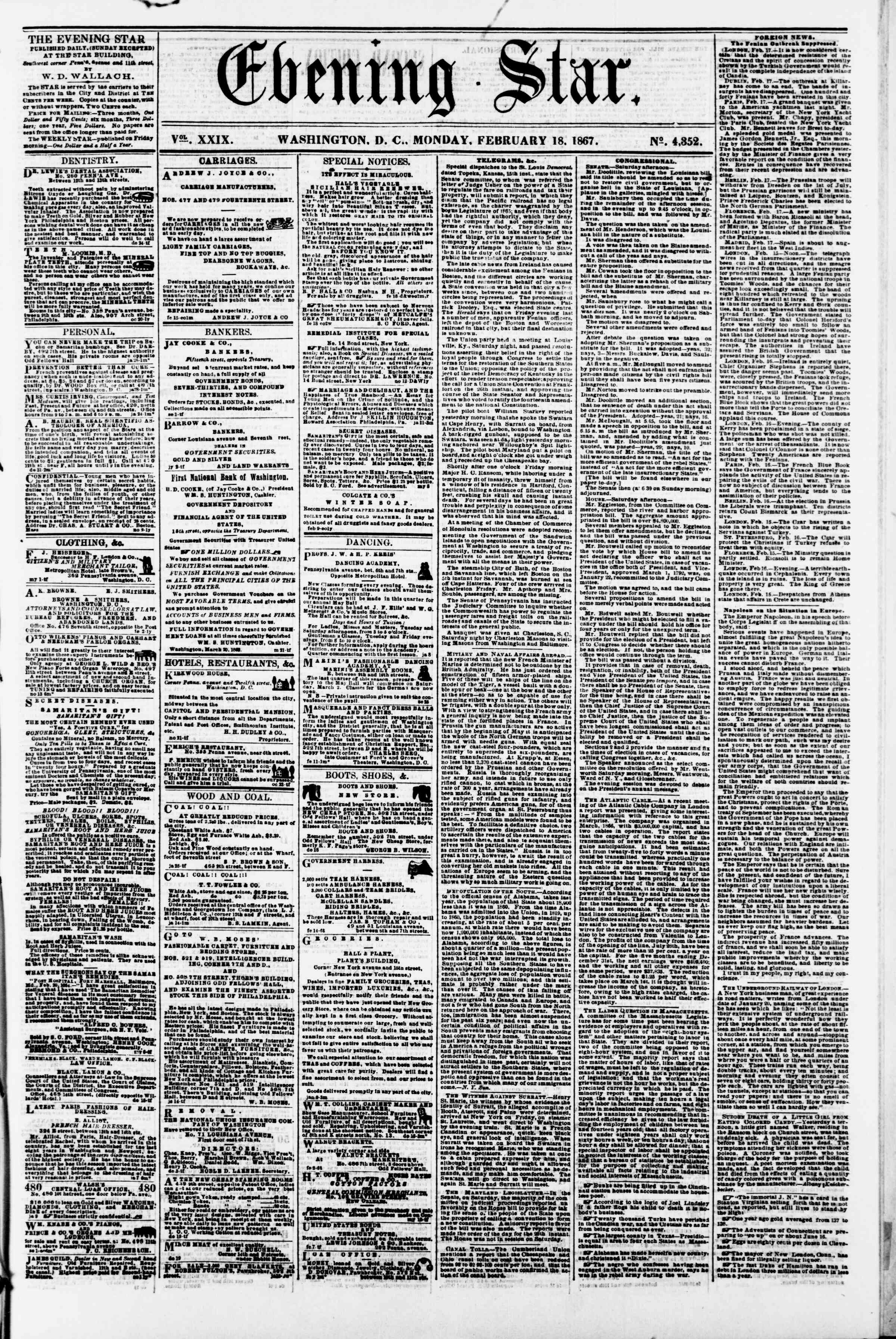 Newspaper of Evening Star dated February 18, 1867 Page 1