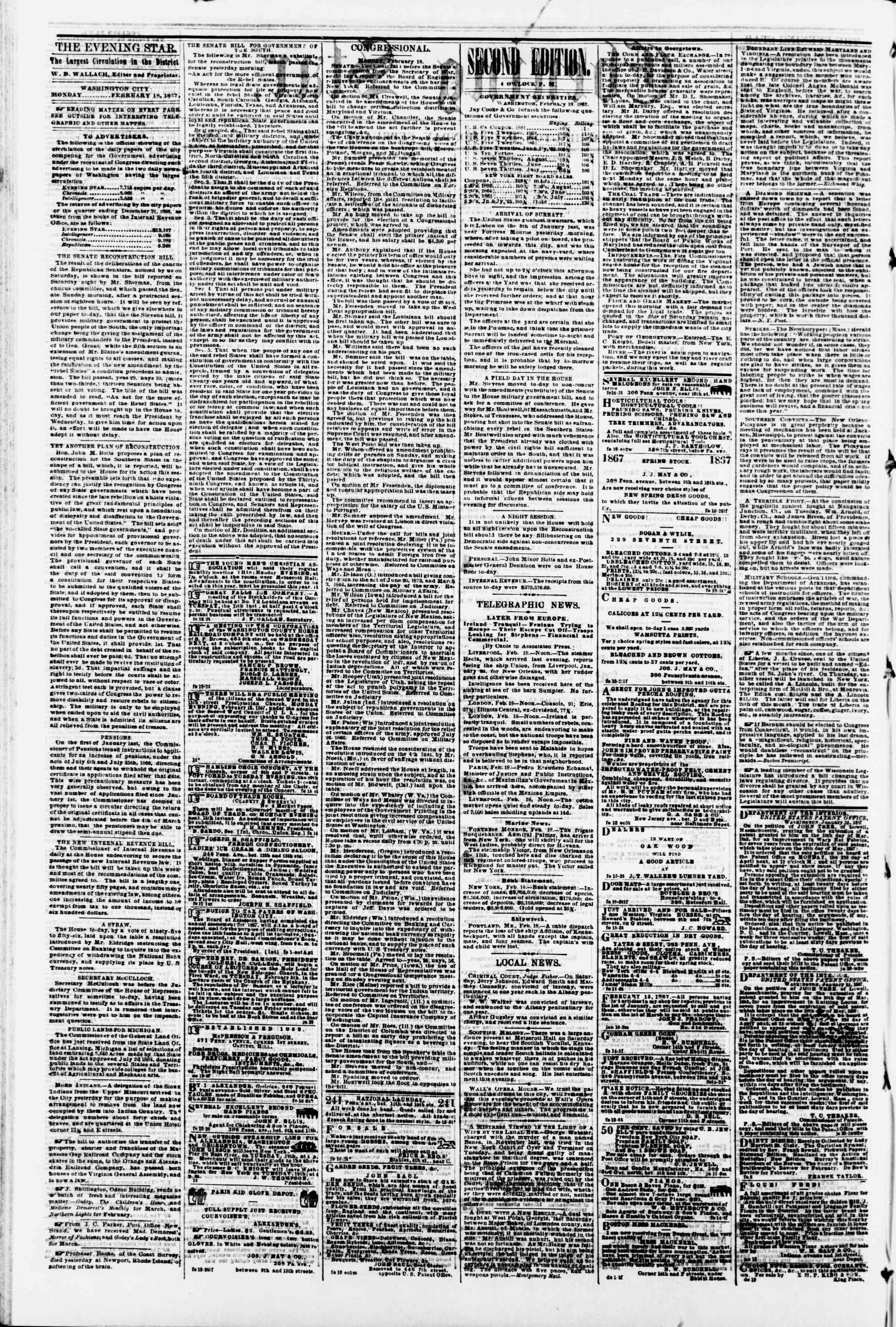 Newspaper of Evening Star dated February 18, 1867 Page 2