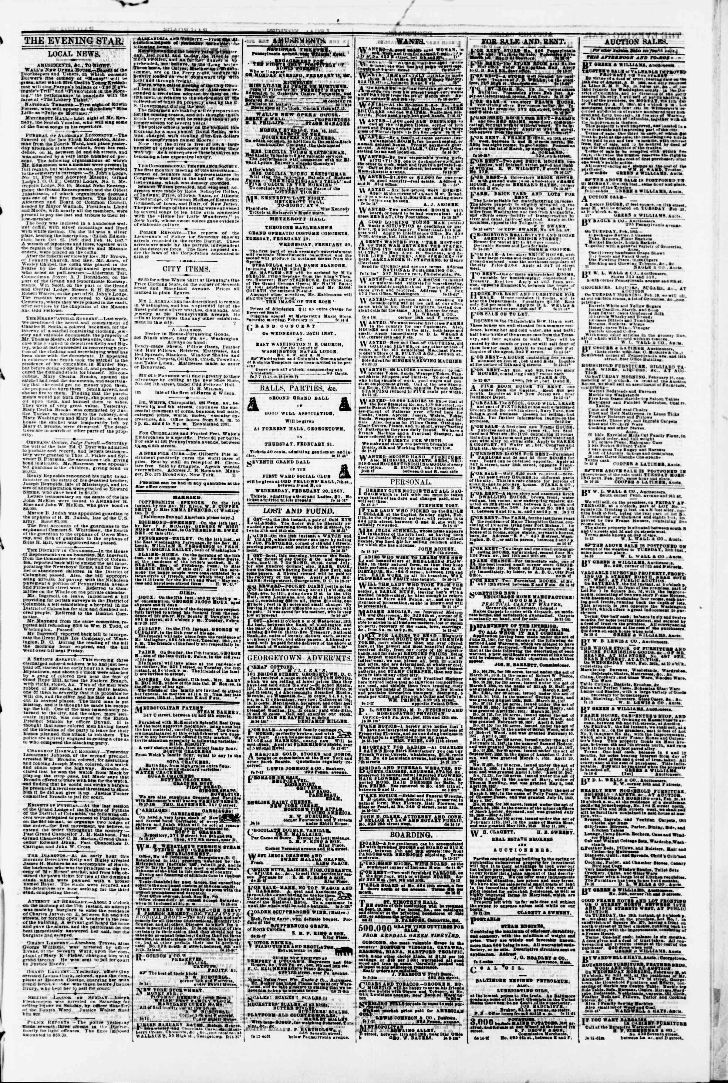 Newspaper of Evening Star dated February 18, 1867 Page 3
