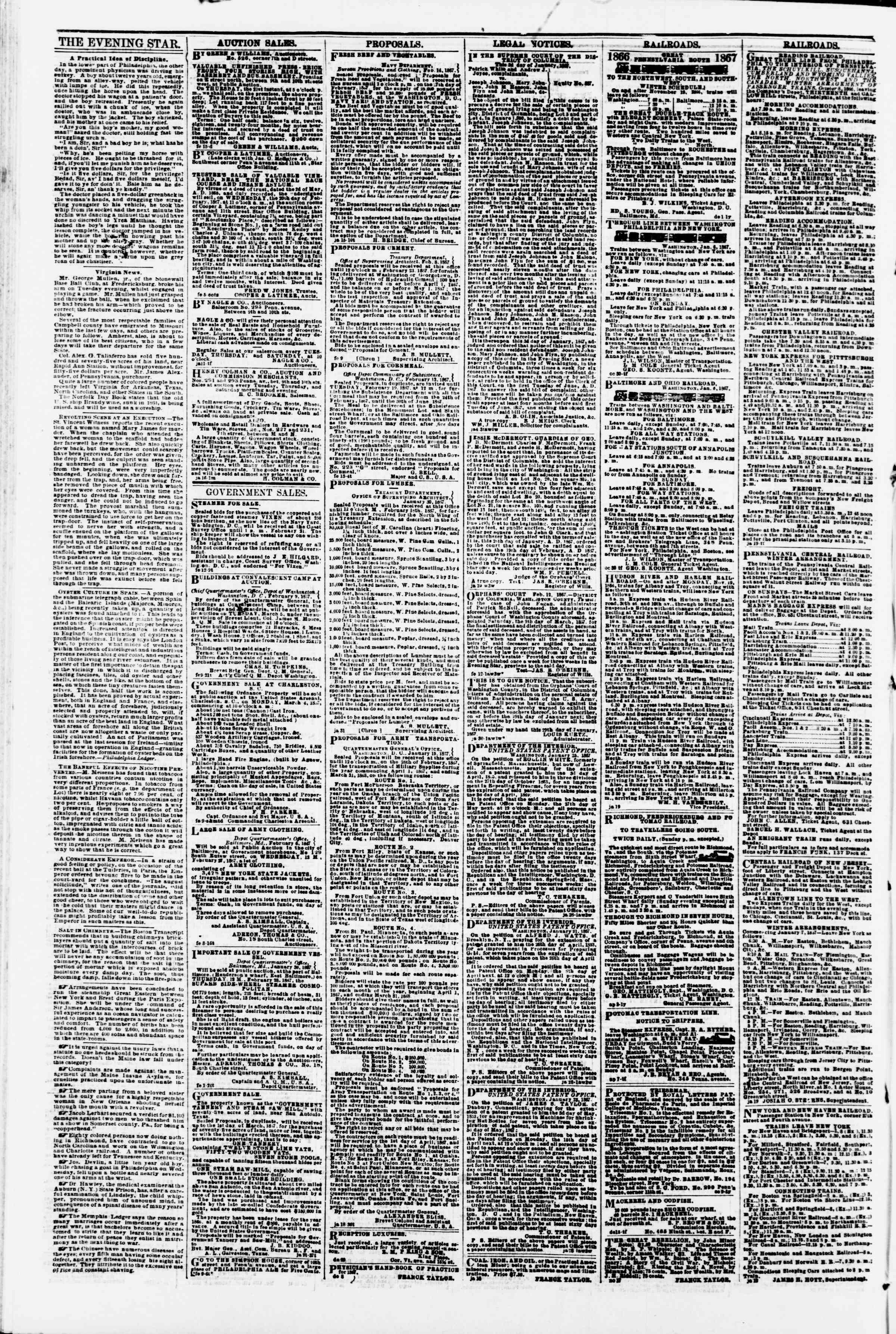 Newspaper of Evening Star dated February 18, 1867 Page 4