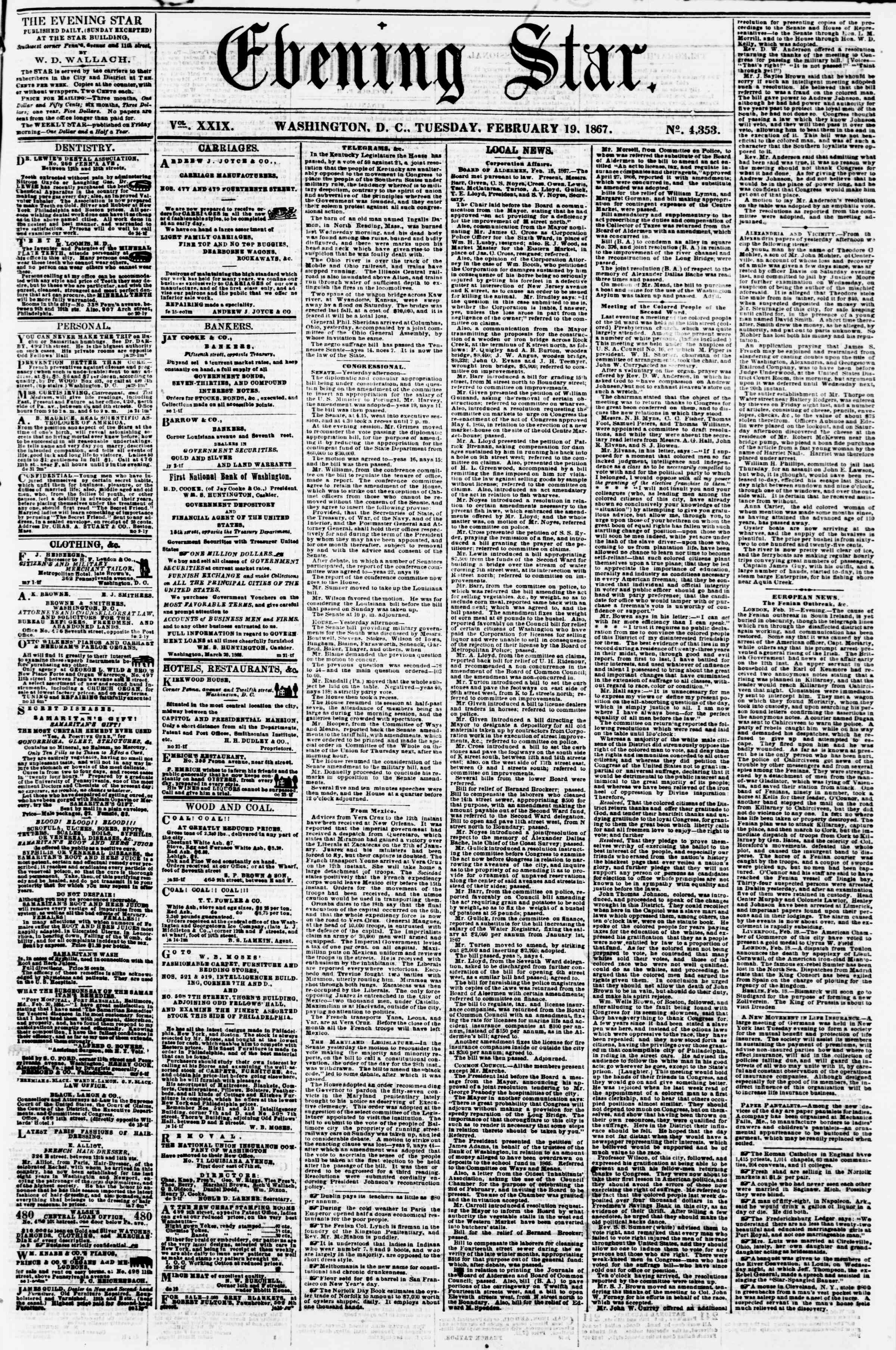 Newspaper of Evening Star dated February 19, 1867 Page 1