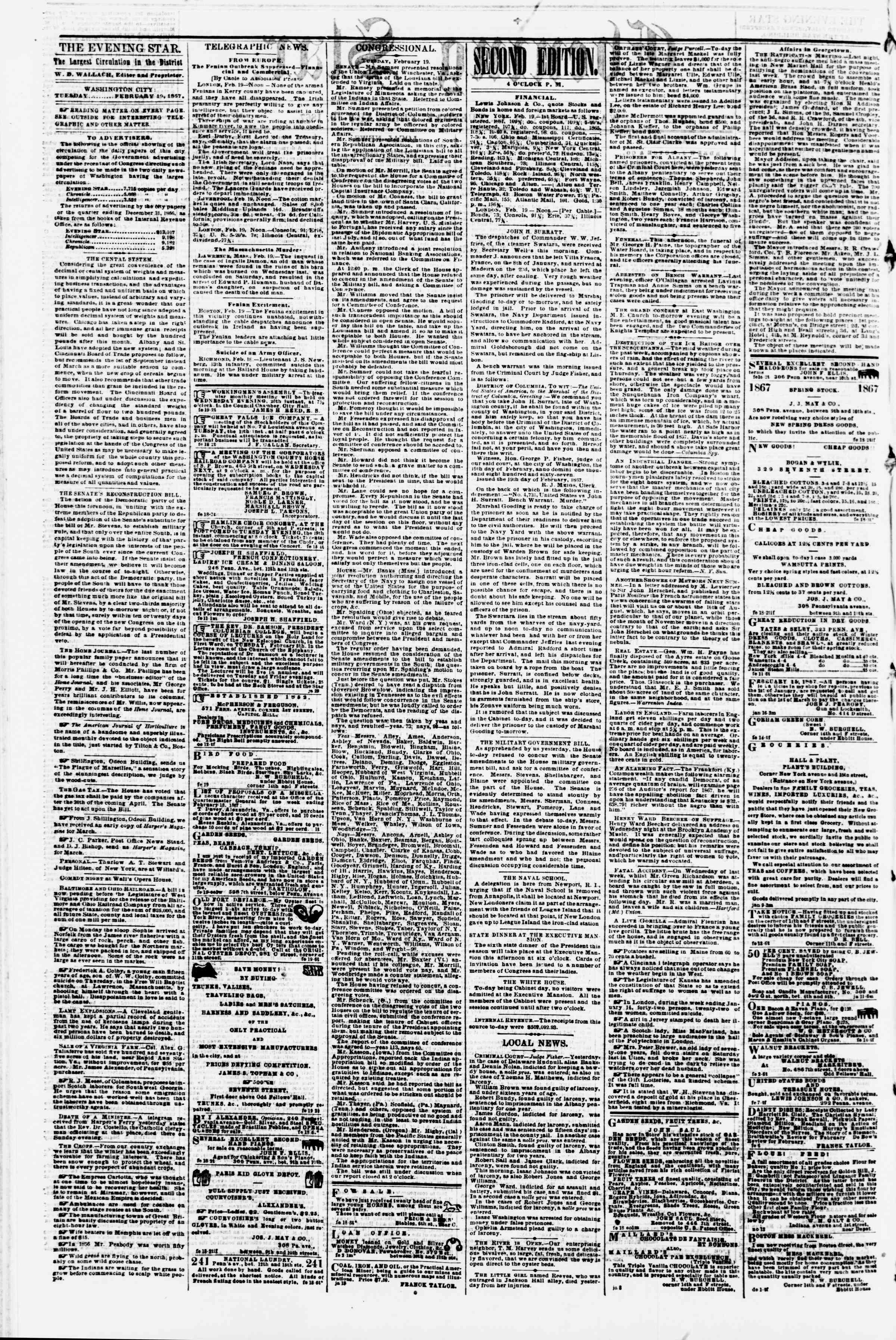 Newspaper of Evening Star dated 19 Şubat 1867 Page 2