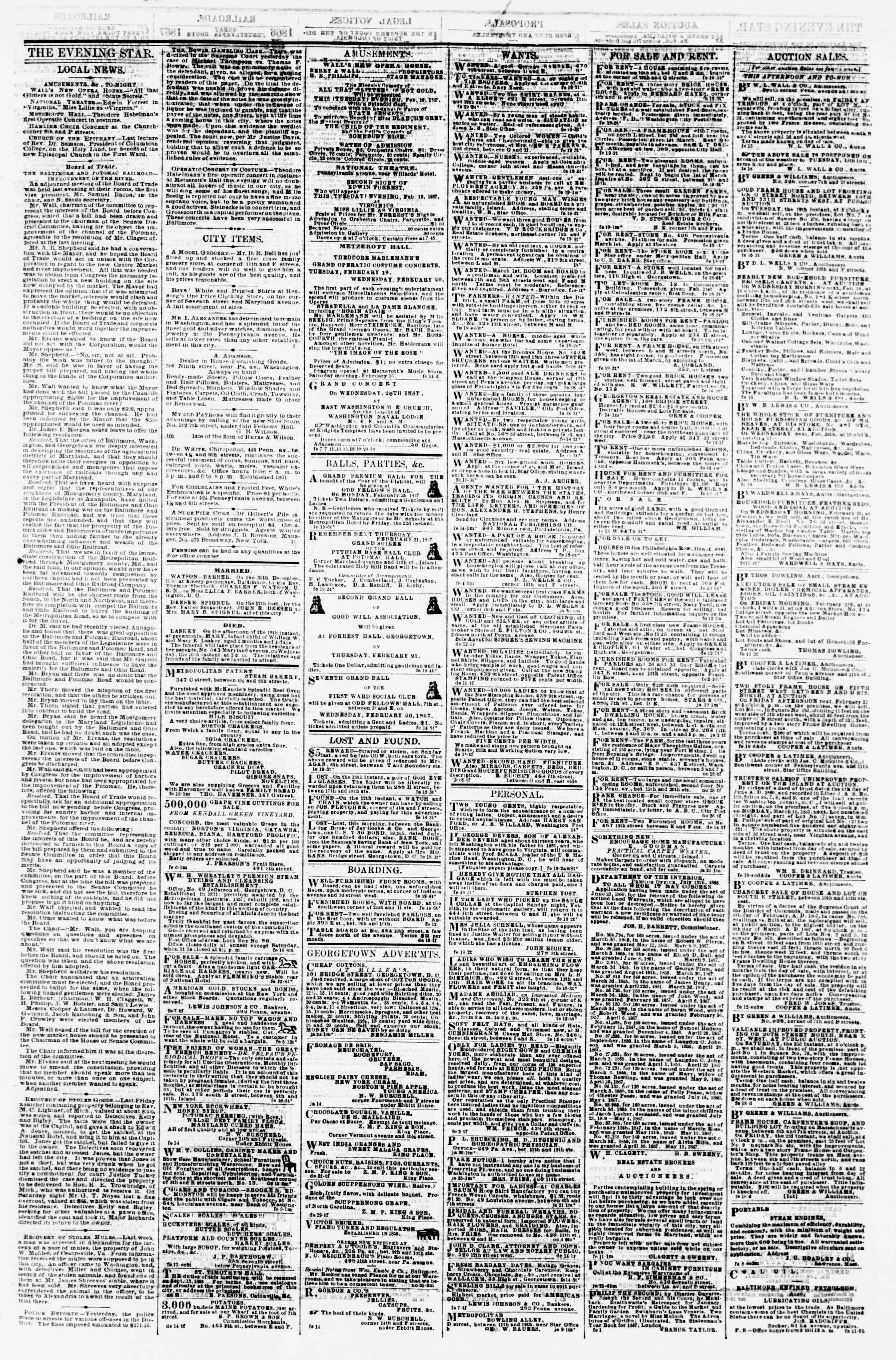 Newspaper of Evening Star dated February 19, 1867 Page 3