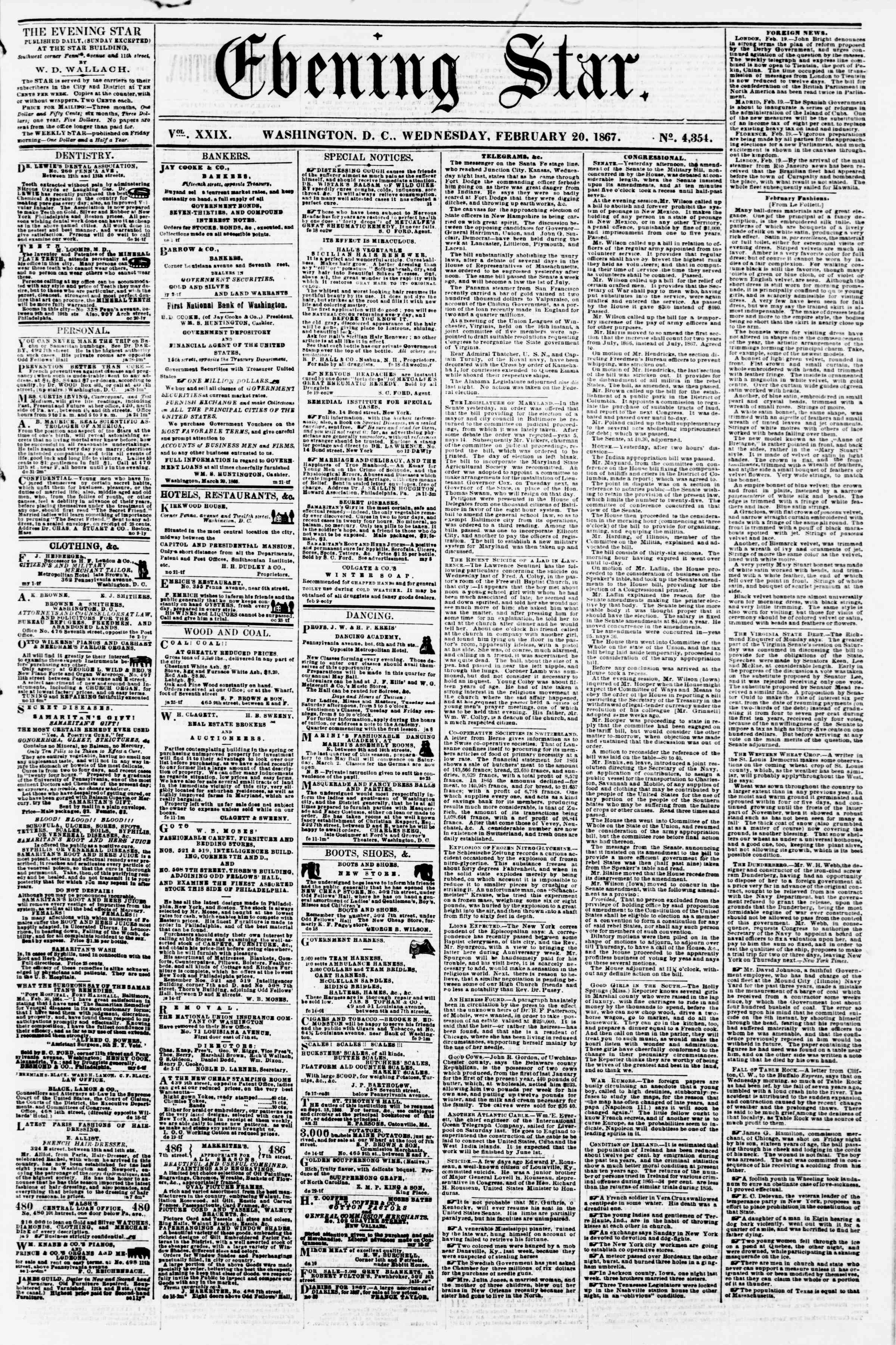 Newspaper of Evening Star dated February 20, 1867 Page 1