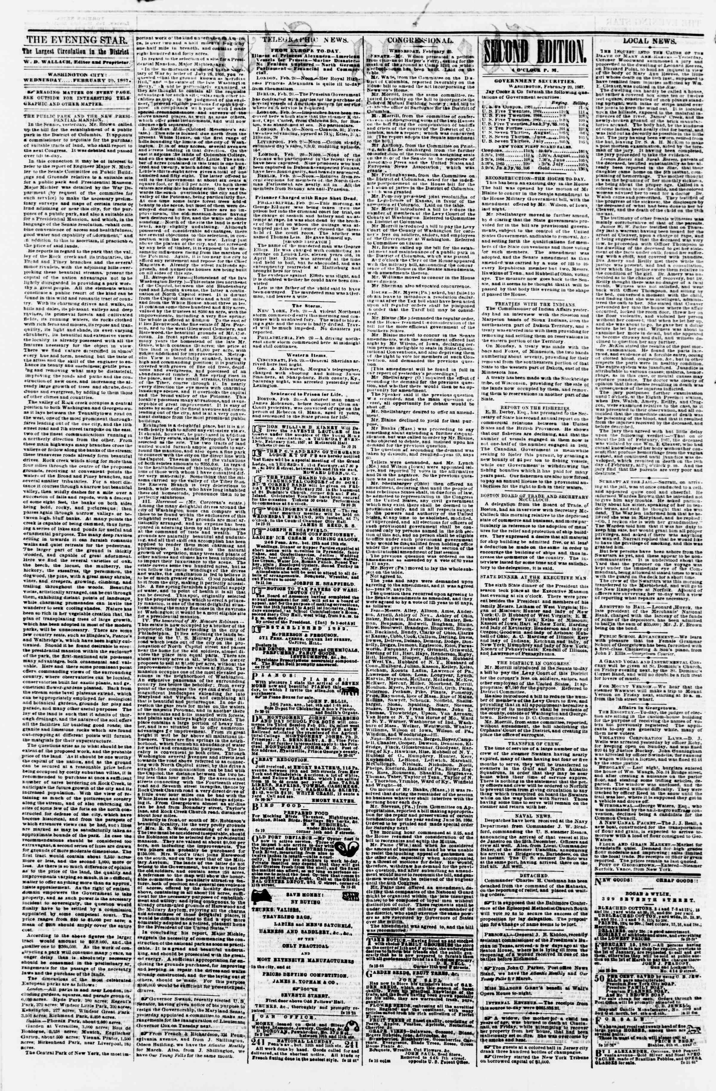 Newspaper of Evening Star dated February 20, 1867 Page 2