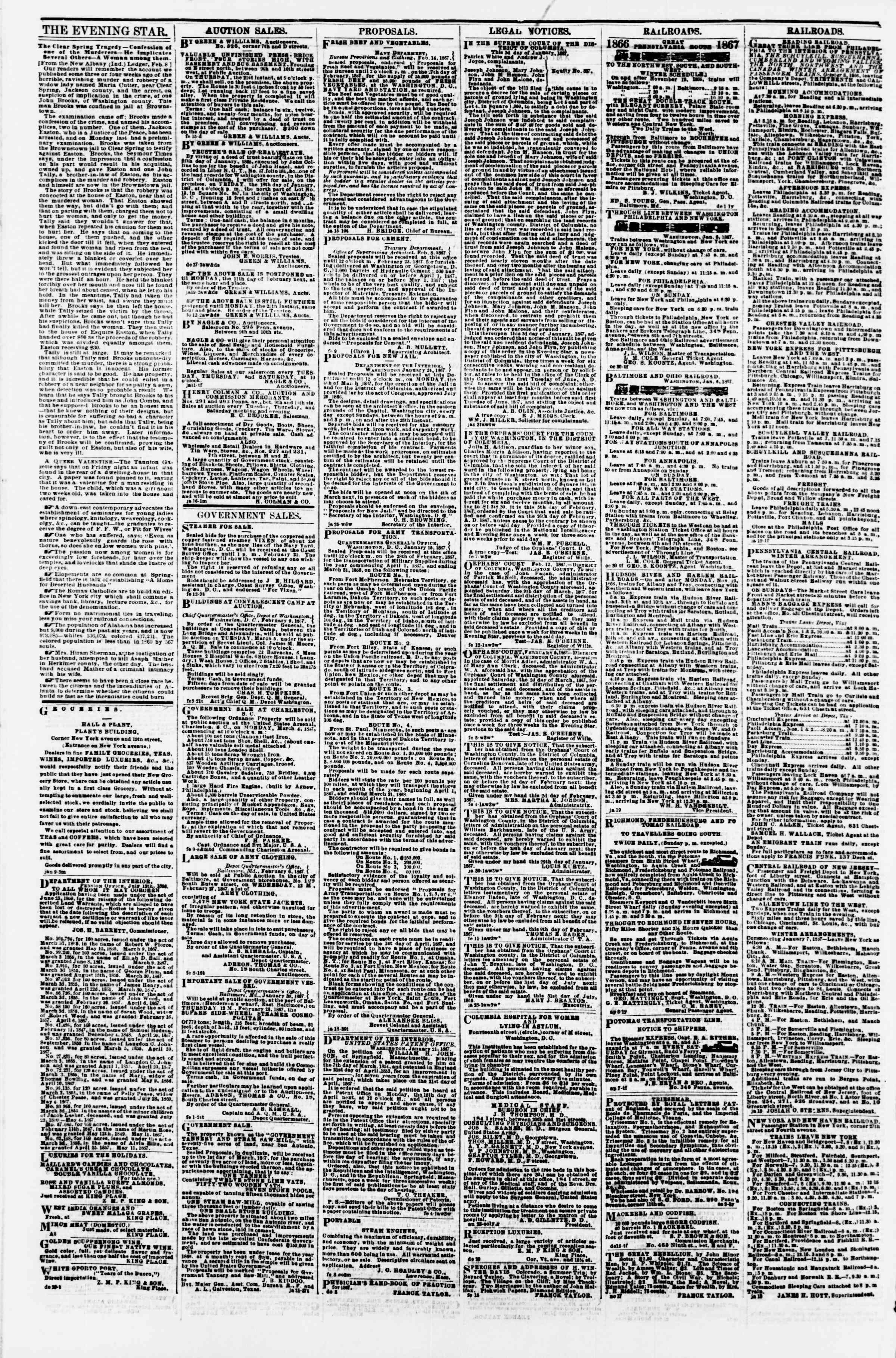 Newspaper of Evening Star dated February 20, 1867 Page 4