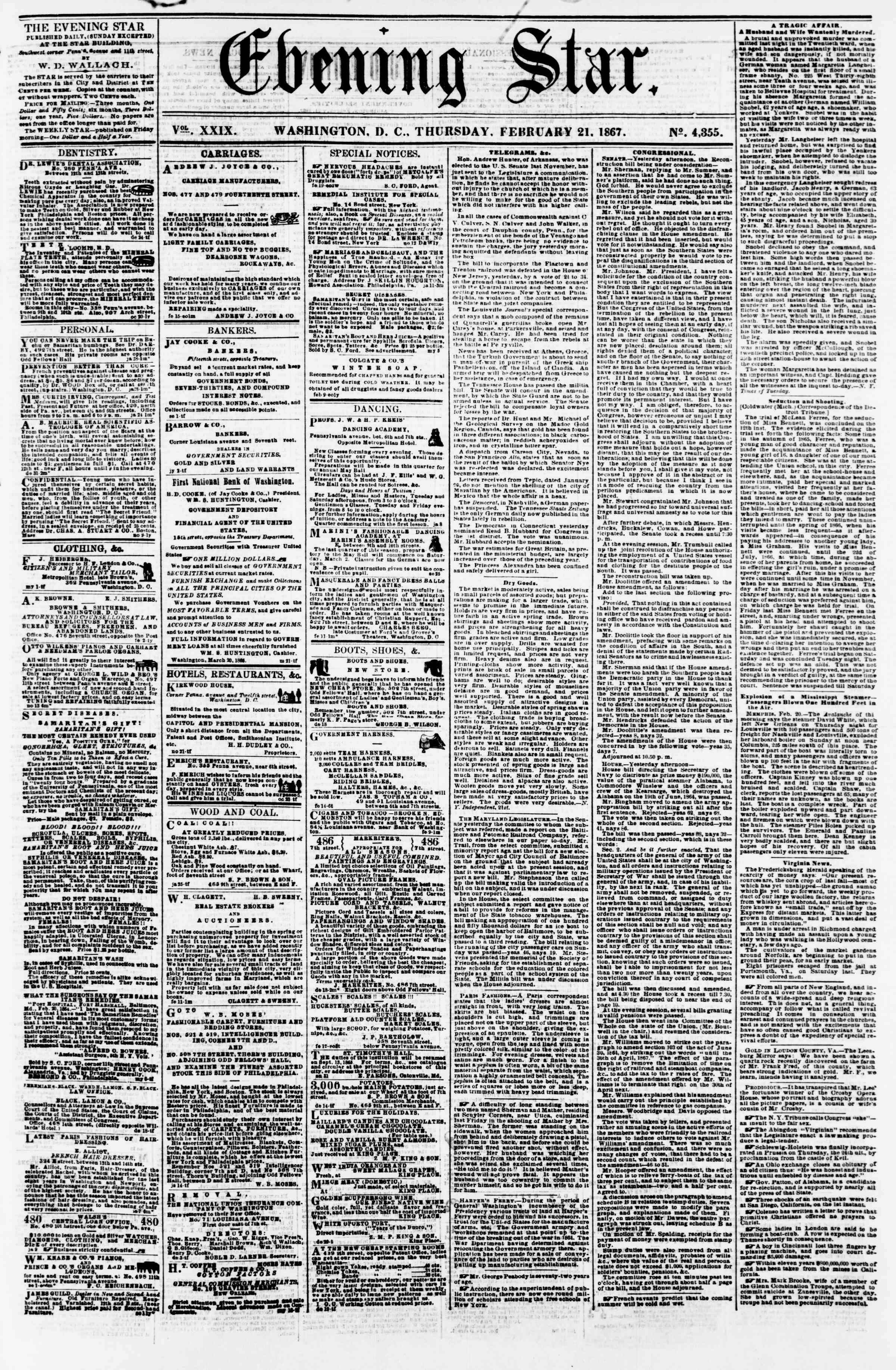 Newspaper of Evening Star dated February 21, 1867 Page 1