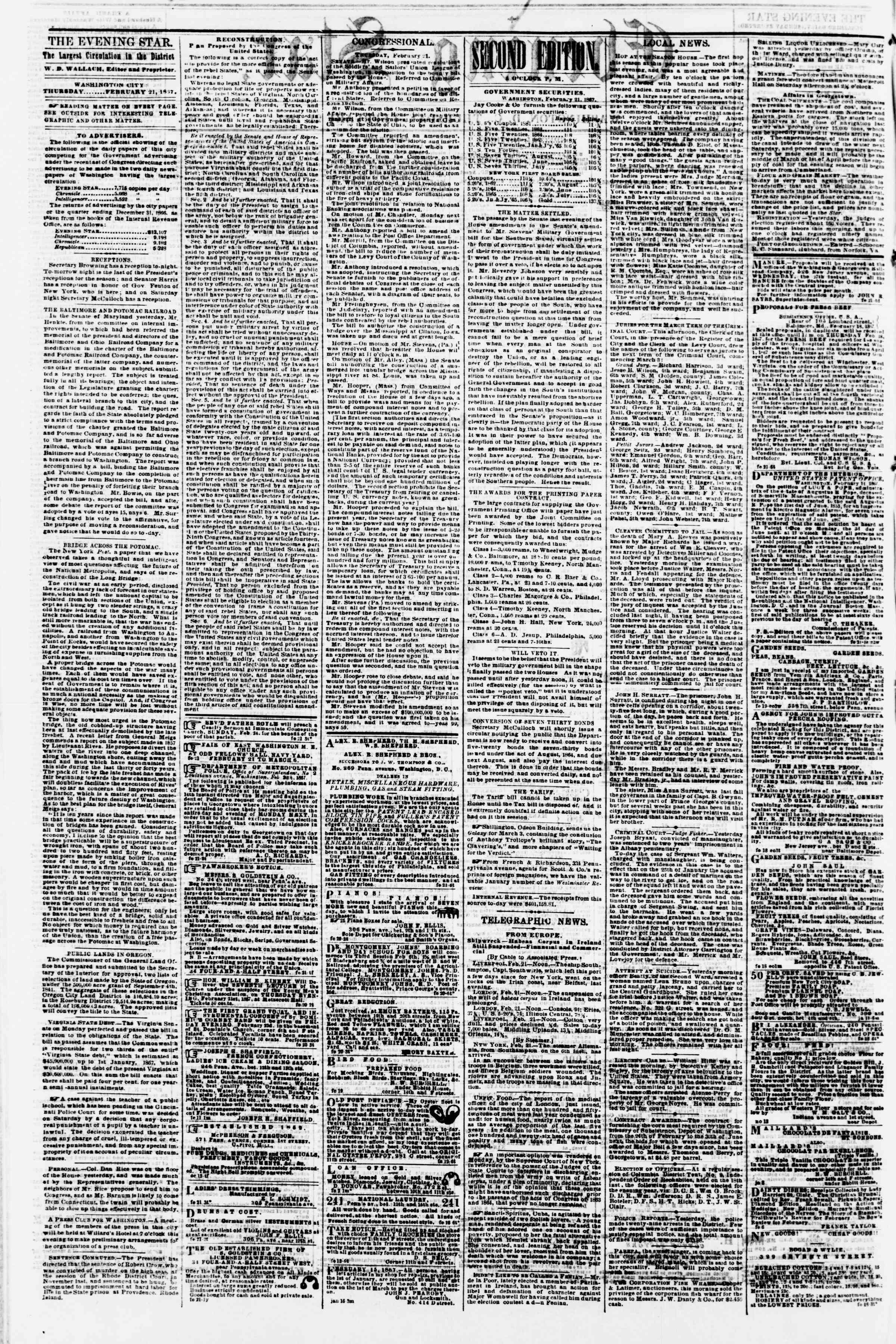 Newspaper of Evening Star dated February 21, 1867 Page 2