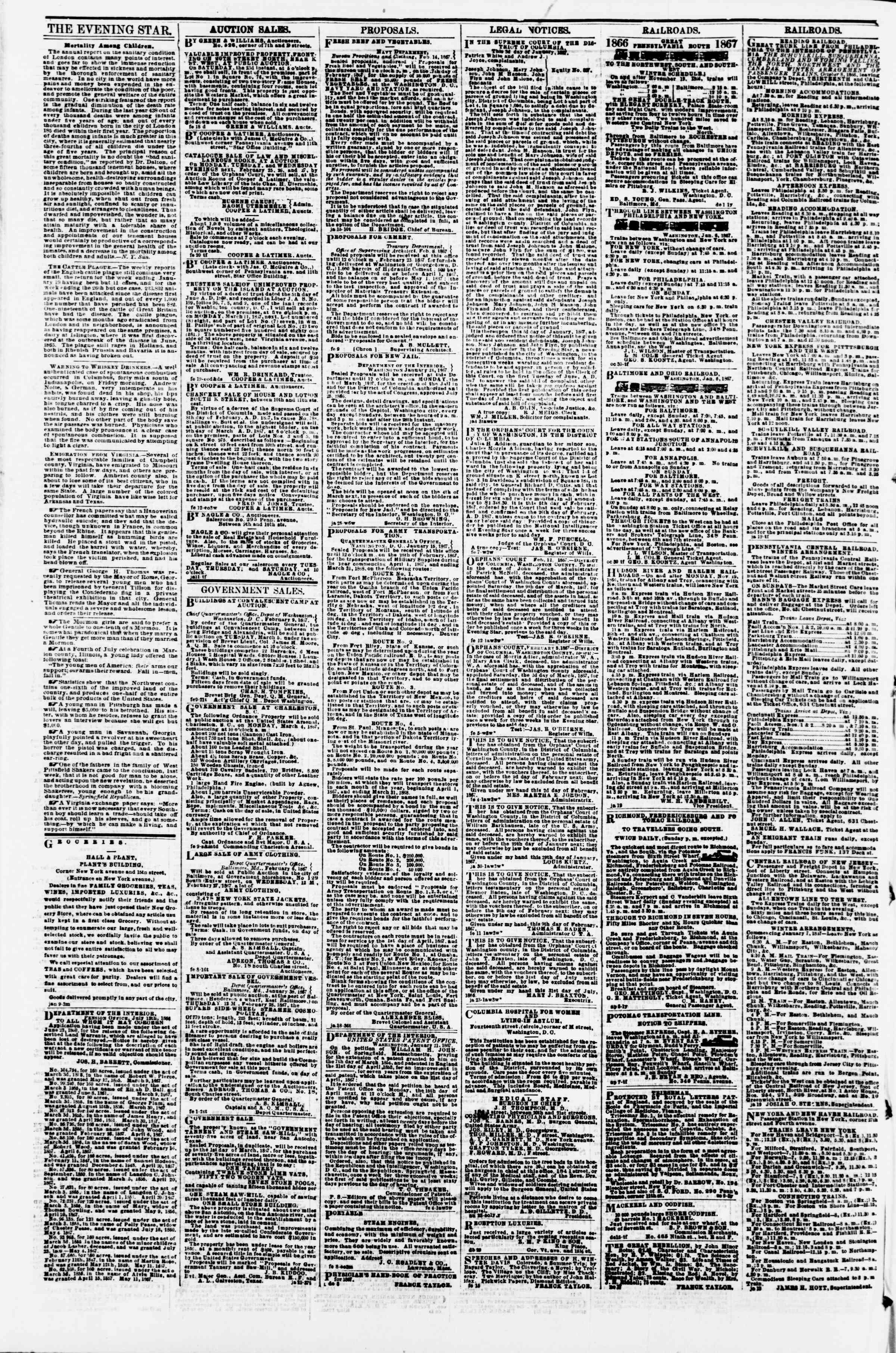 Newspaper of Evening Star dated February 21, 1867 Page 4