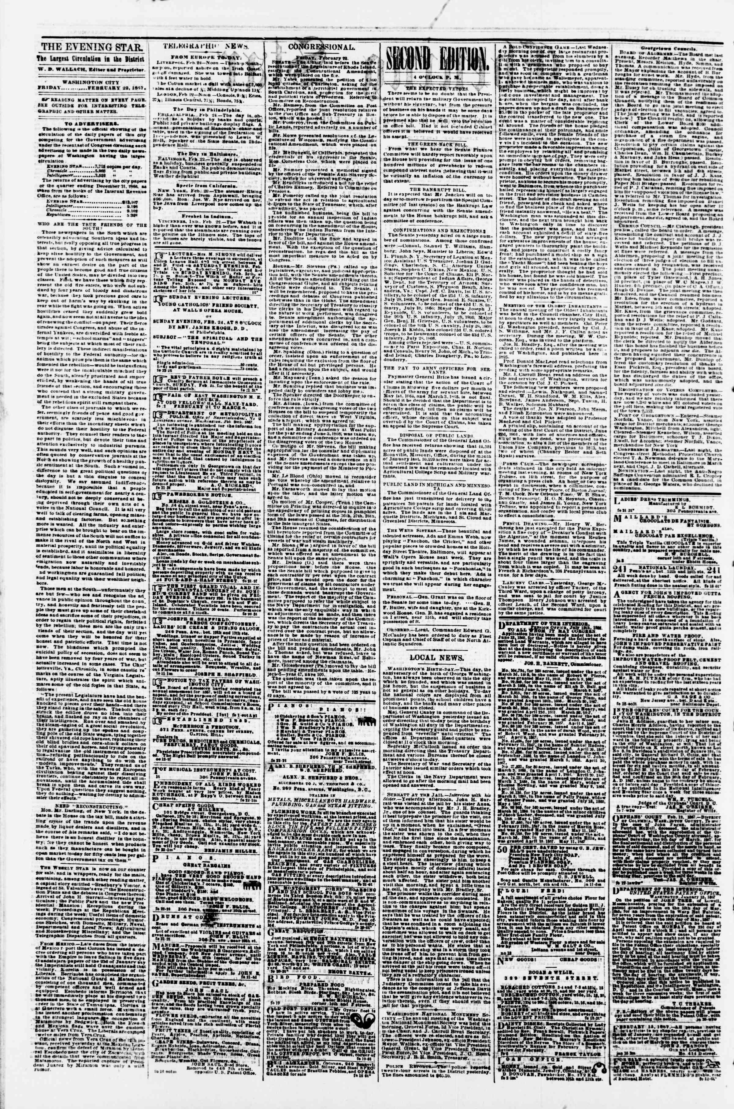 Newspaper of Evening Star dated February 22, 1867 Page 2