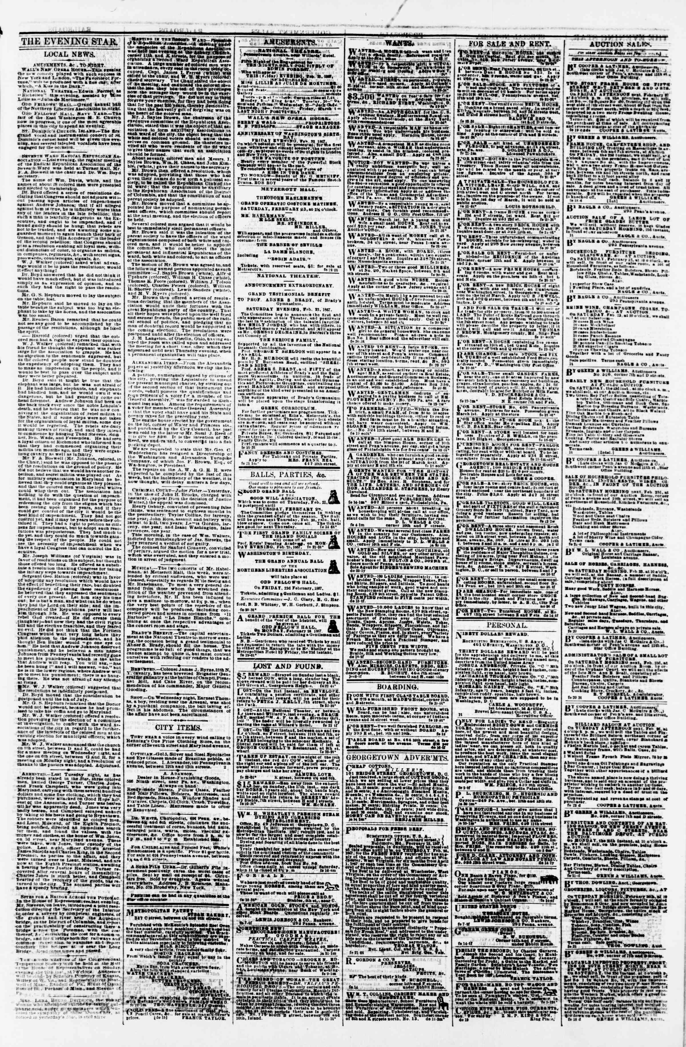 Newspaper of Evening Star dated February 22, 1867 Page 3