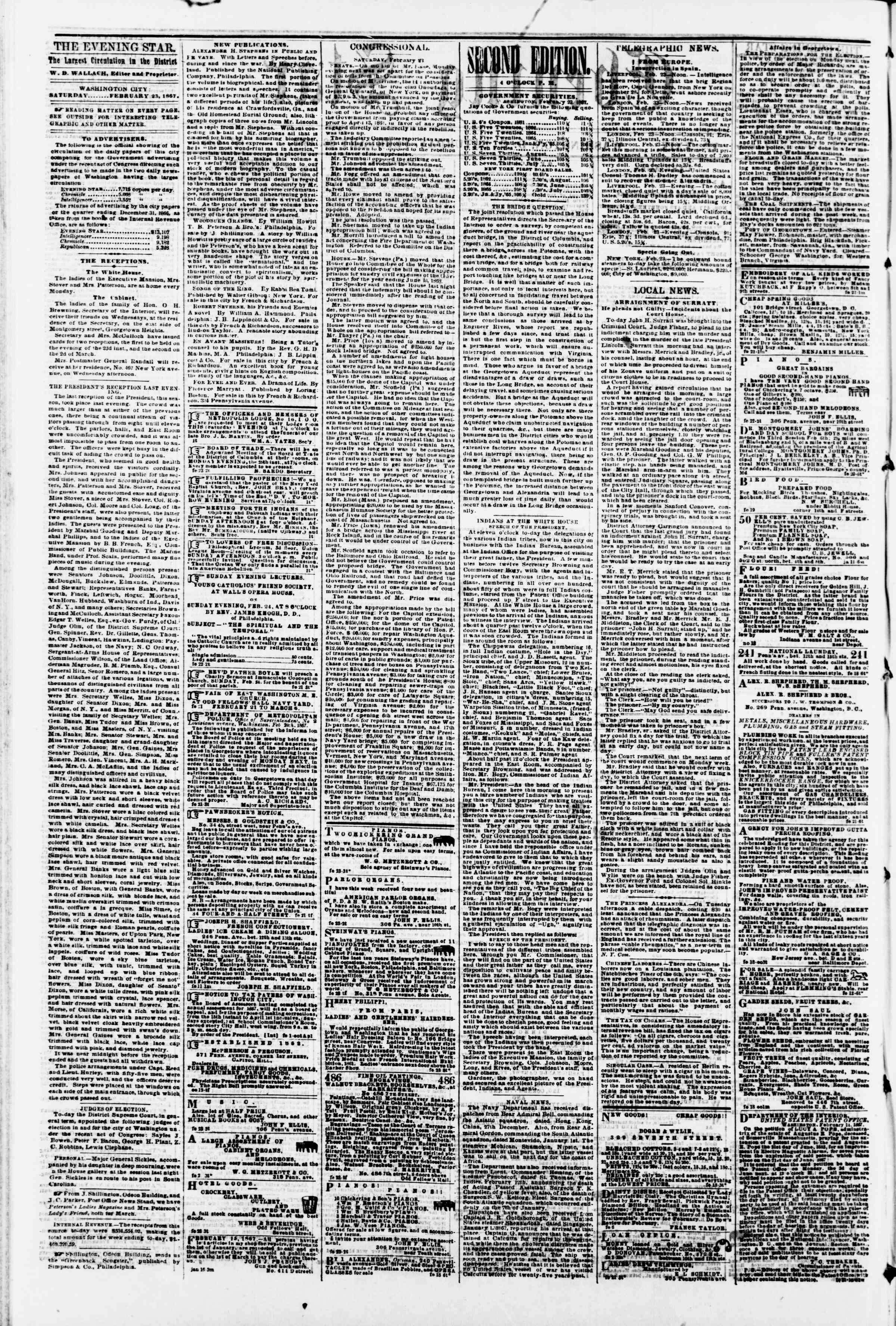 Newspaper of Evening Star dated February 23, 1867 Page 2