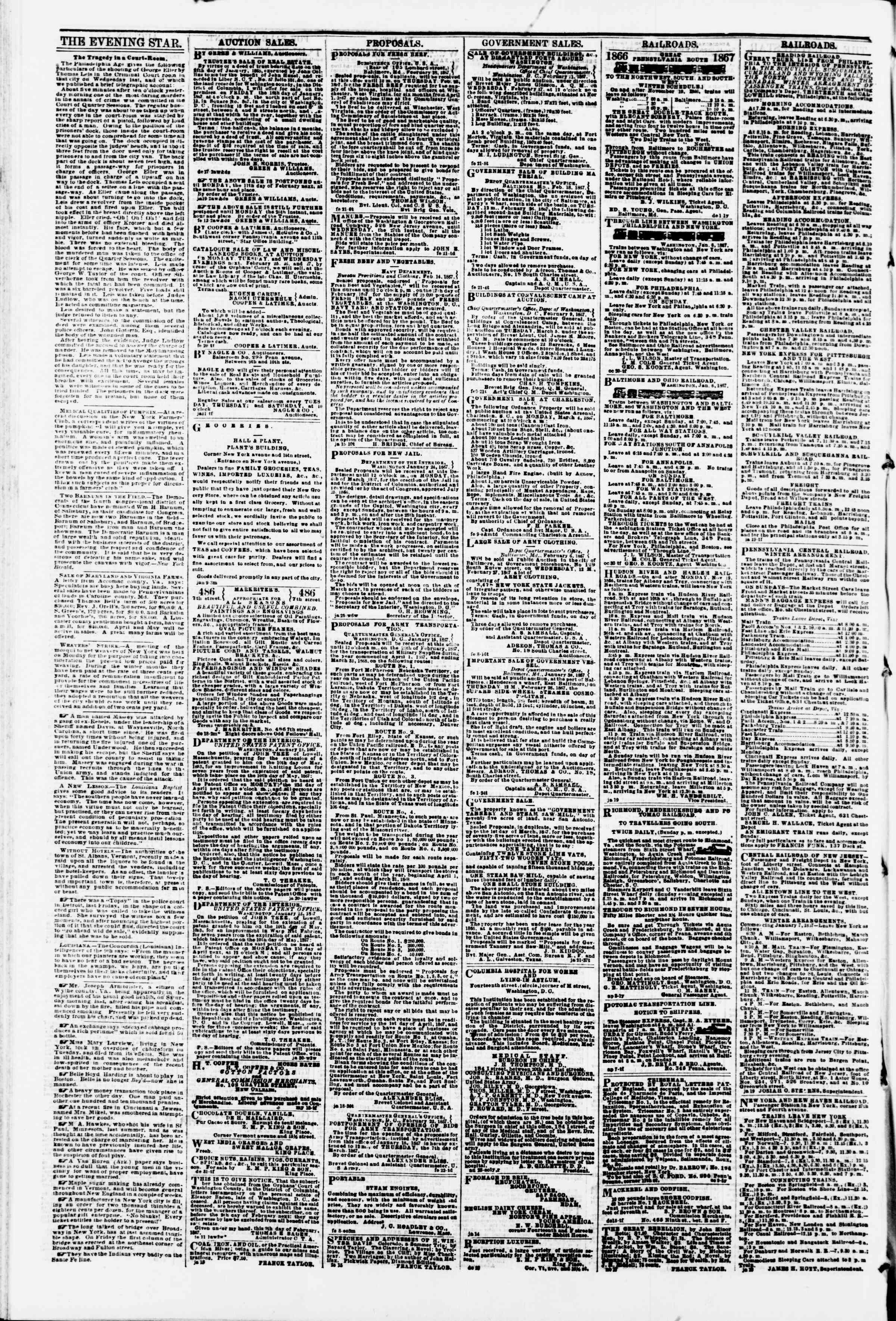 Newspaper of Evening Star dated February 23, 1867 Page 4