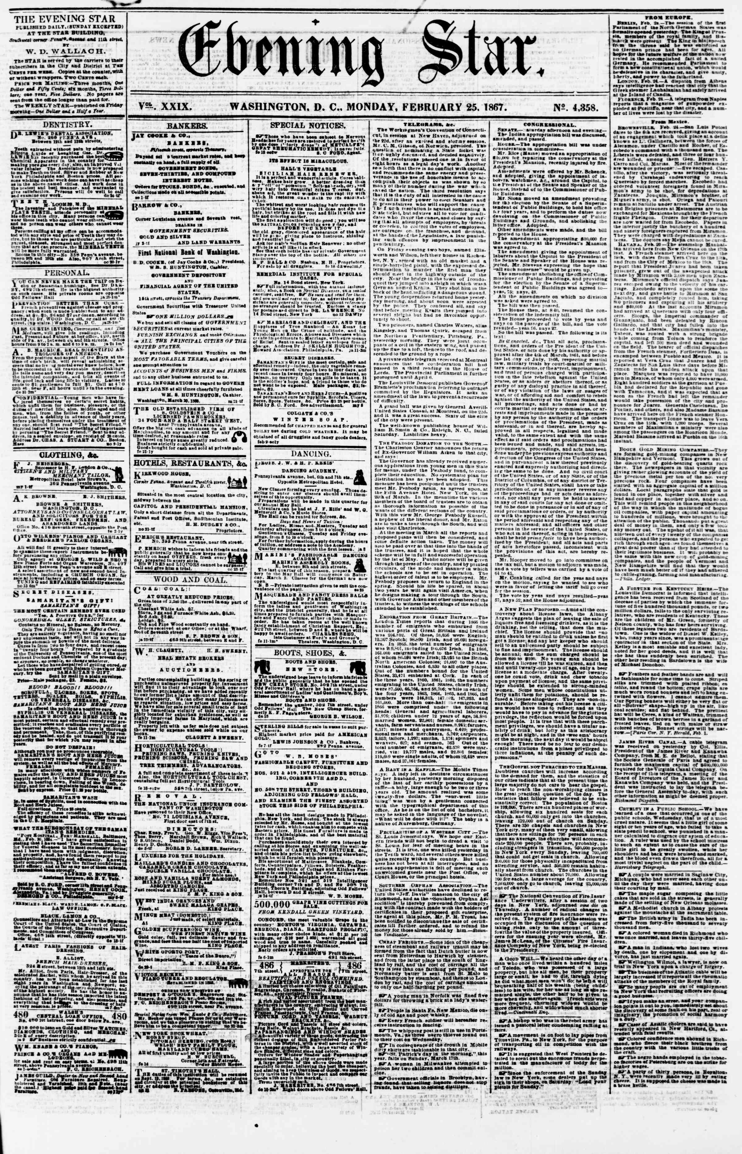 Newspaper of Evening Star dated February 25, 1867 Page 1