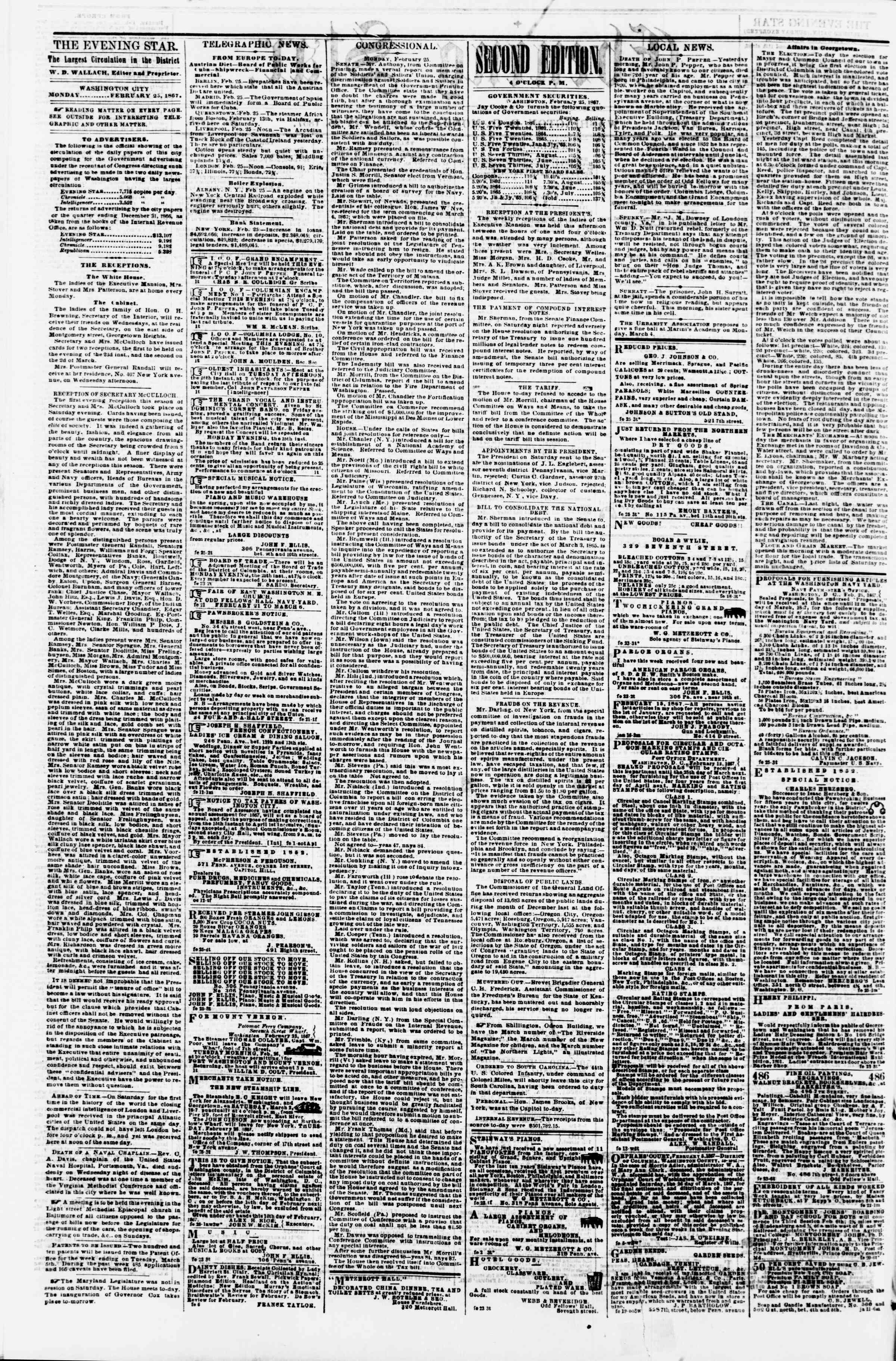 Newspaper of Evening Star dated February 25, 1867 Page 2