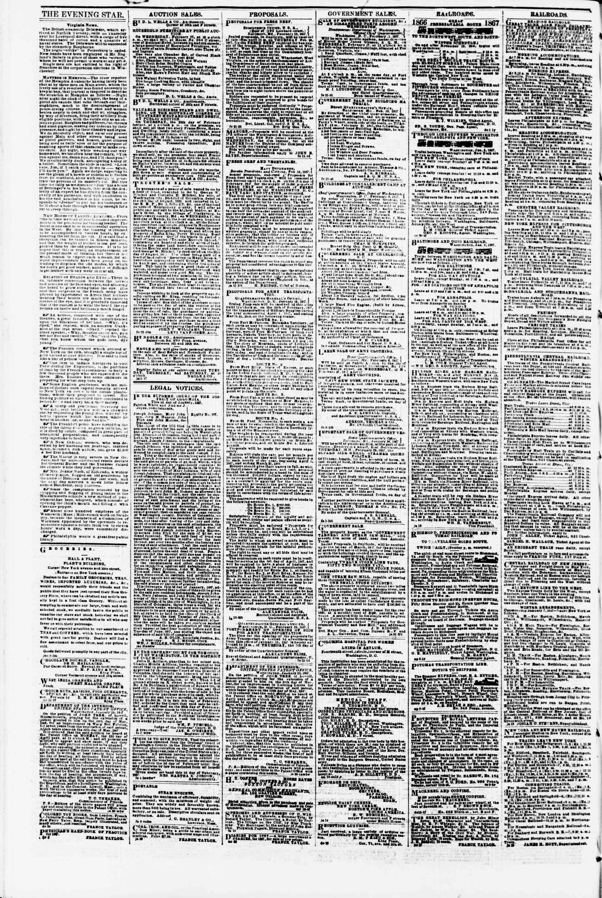 Newspaper of Evening Star dated February 25, 1867 Page 4
