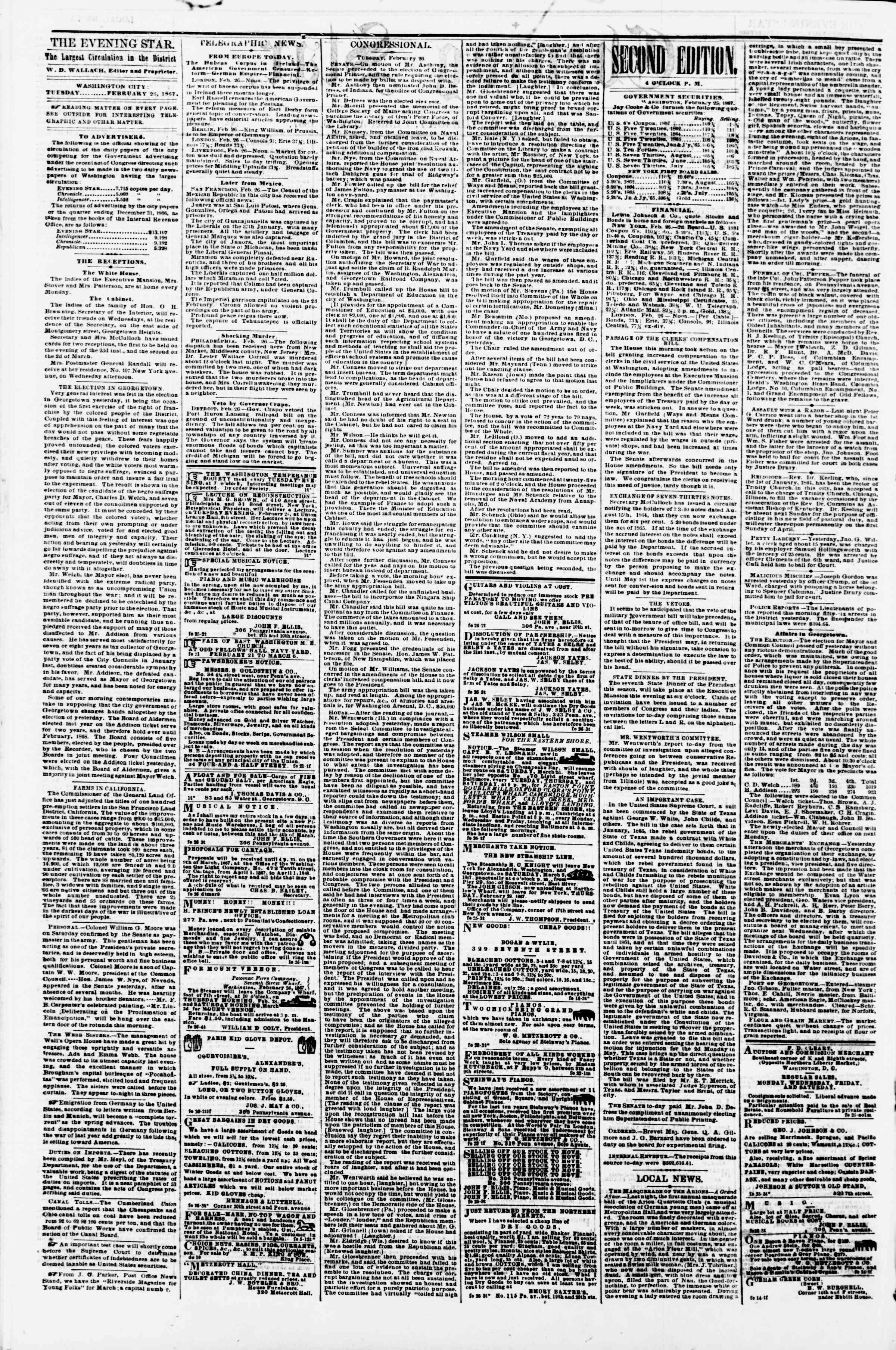Newspaper of Evening Star dated February 26, 1867 Page 2