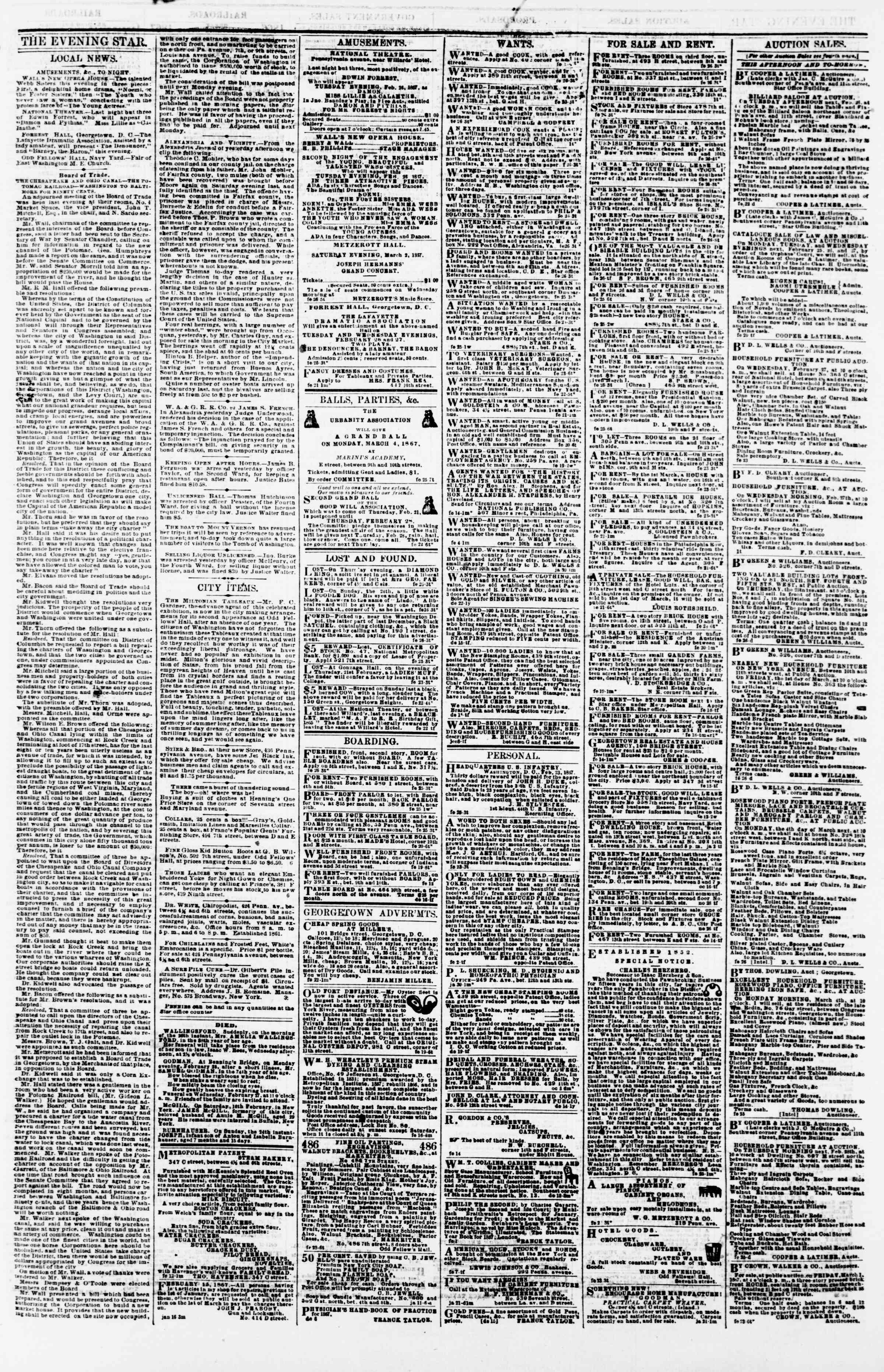 Newspaper of Evening Star dated February 26, 1867 Page 3