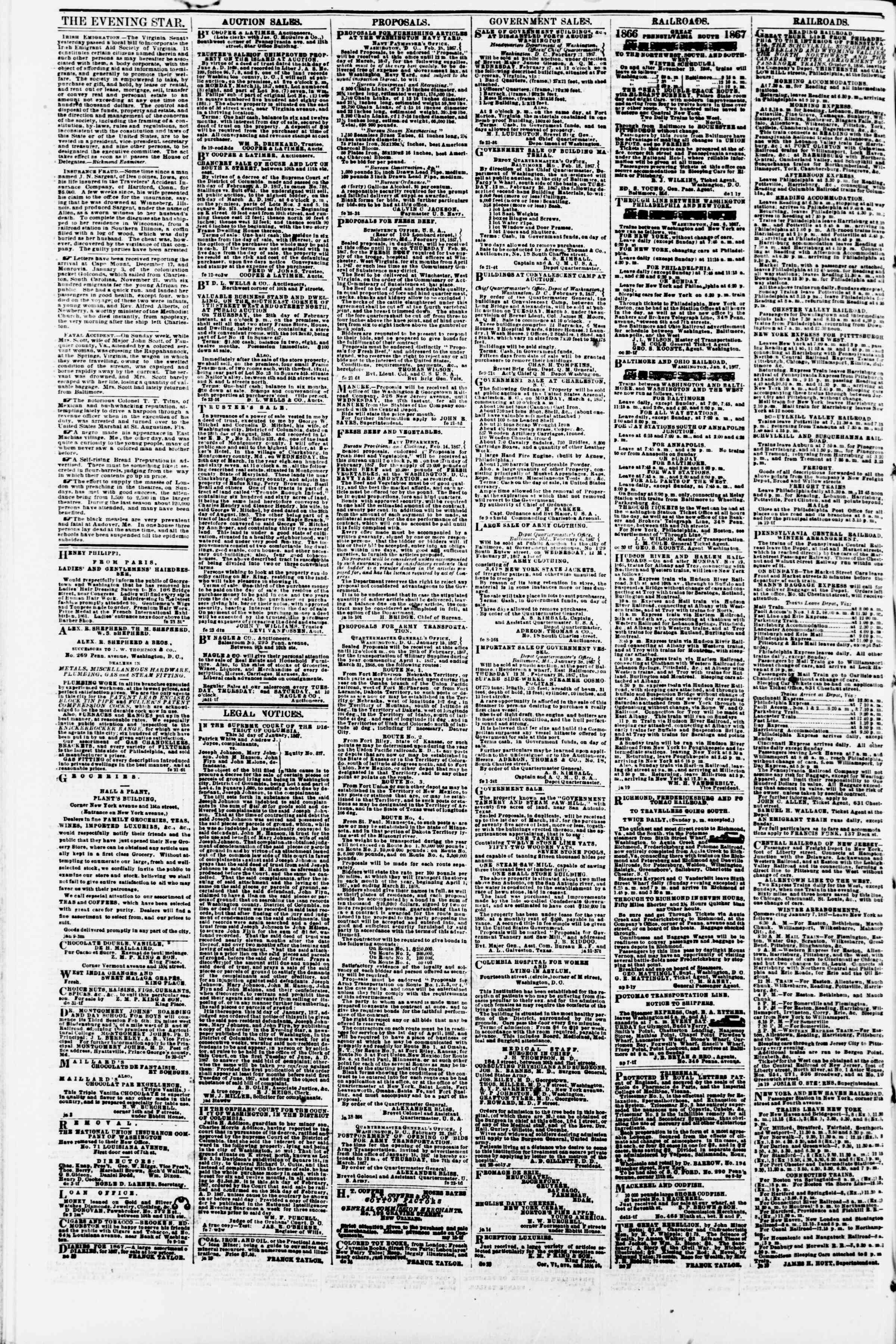 Newspaper of Evening Star dated February 26, 1867 Page 4