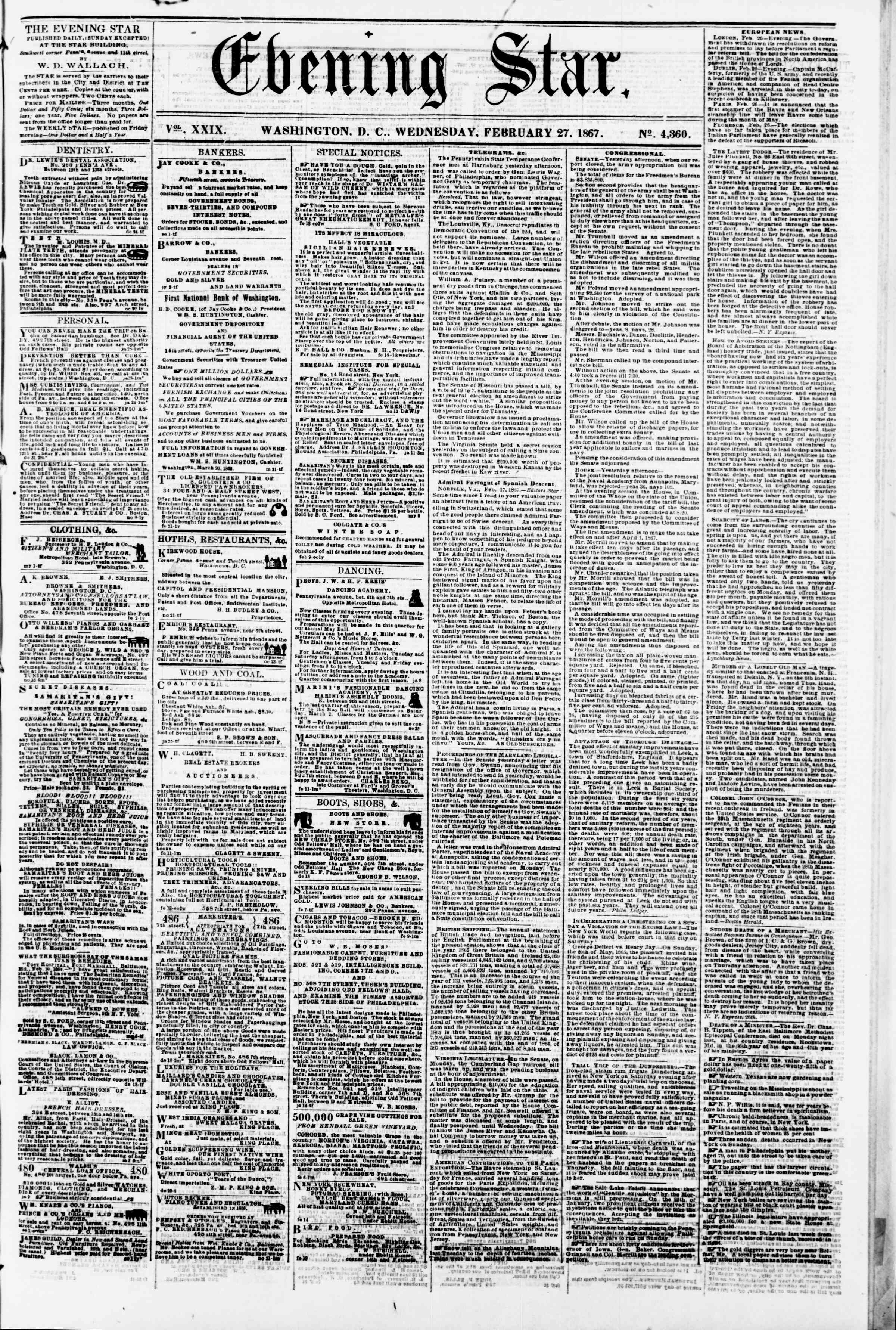 Newspaper of Evening Star dated February 27, 1867 Page 1