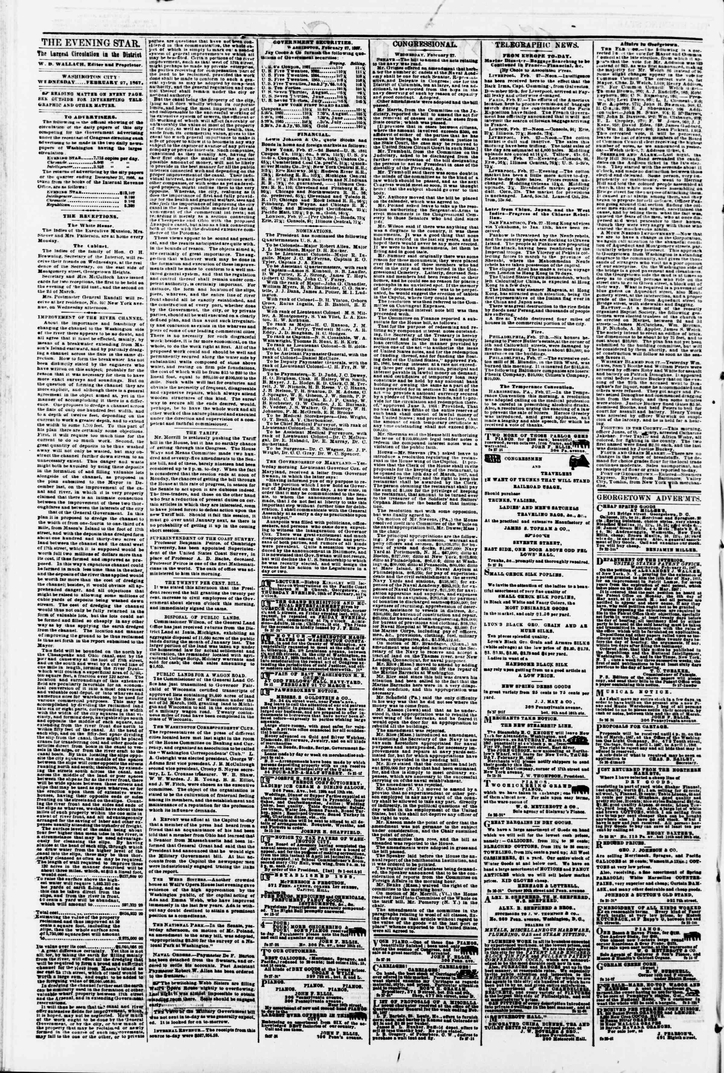 Newspaper of Evening Star dated February 27, 1867 Page 2