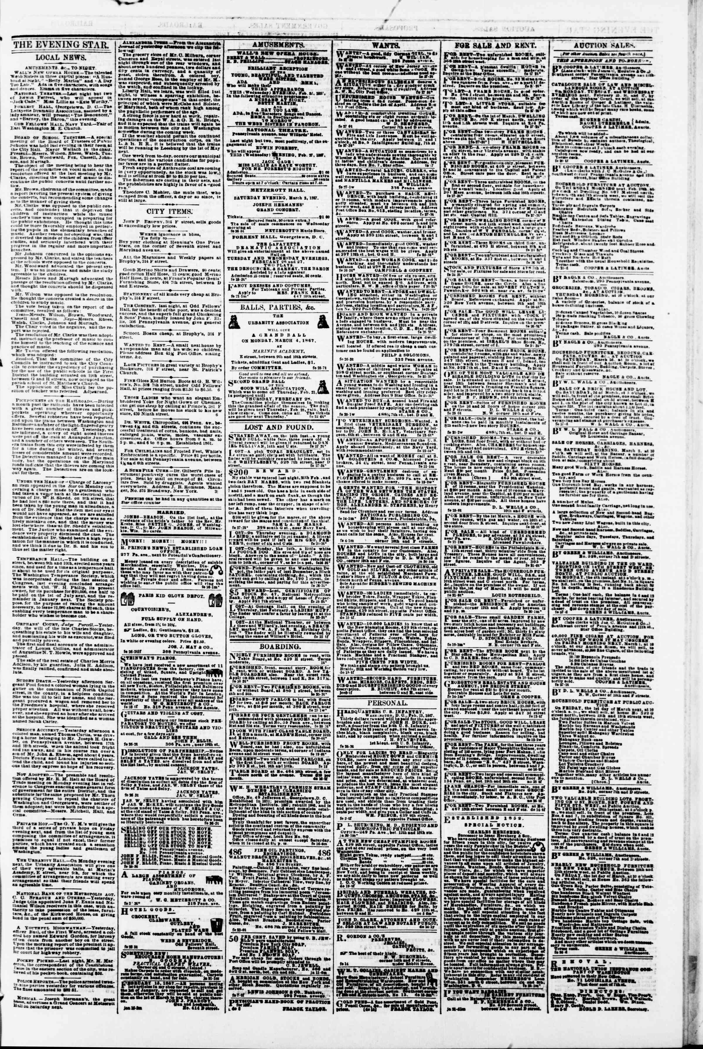 Newspaper of Evening Star dated February 27, 1867 Page 3