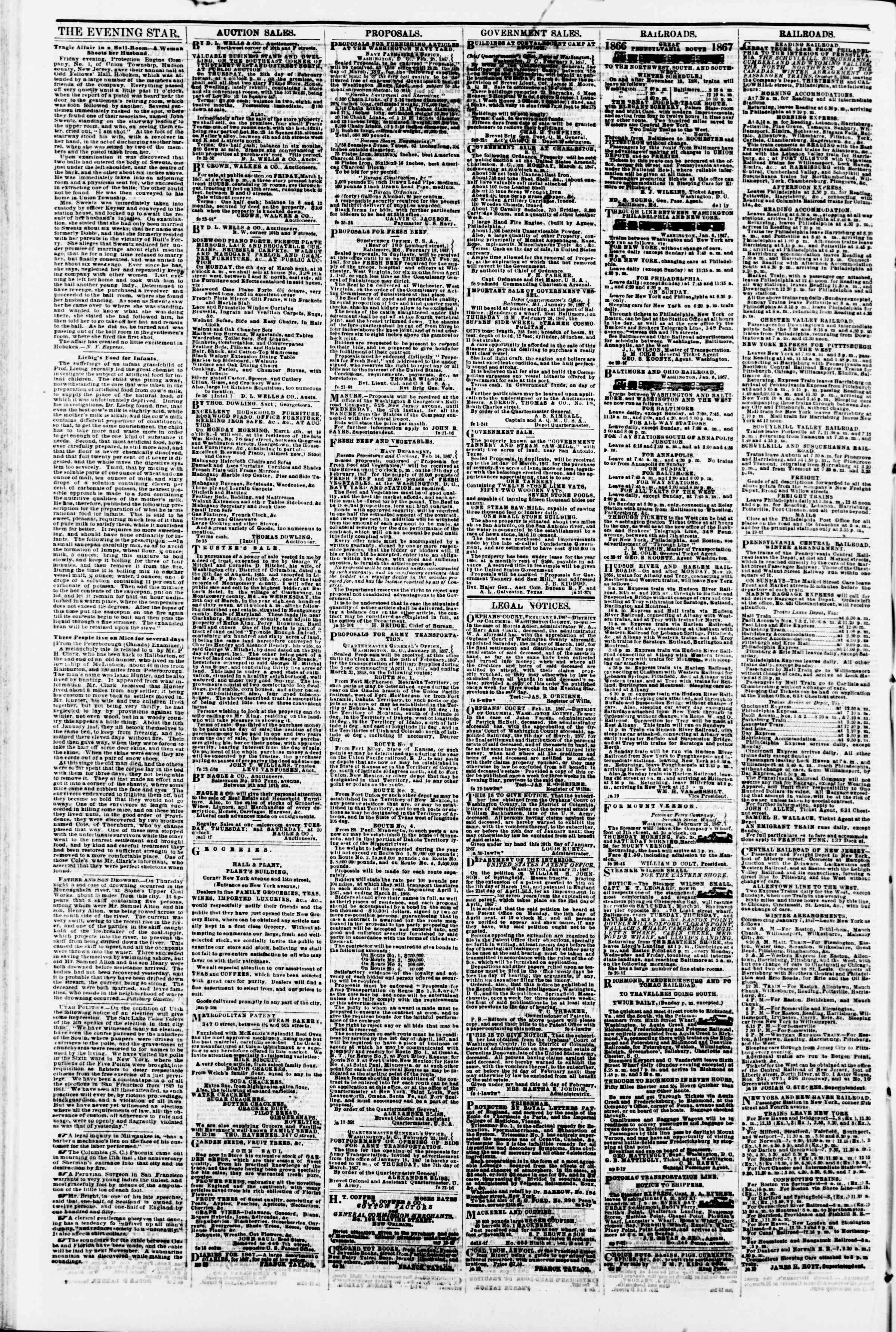 Newspaper of Evening Star dated February 27, 1867 Page 4