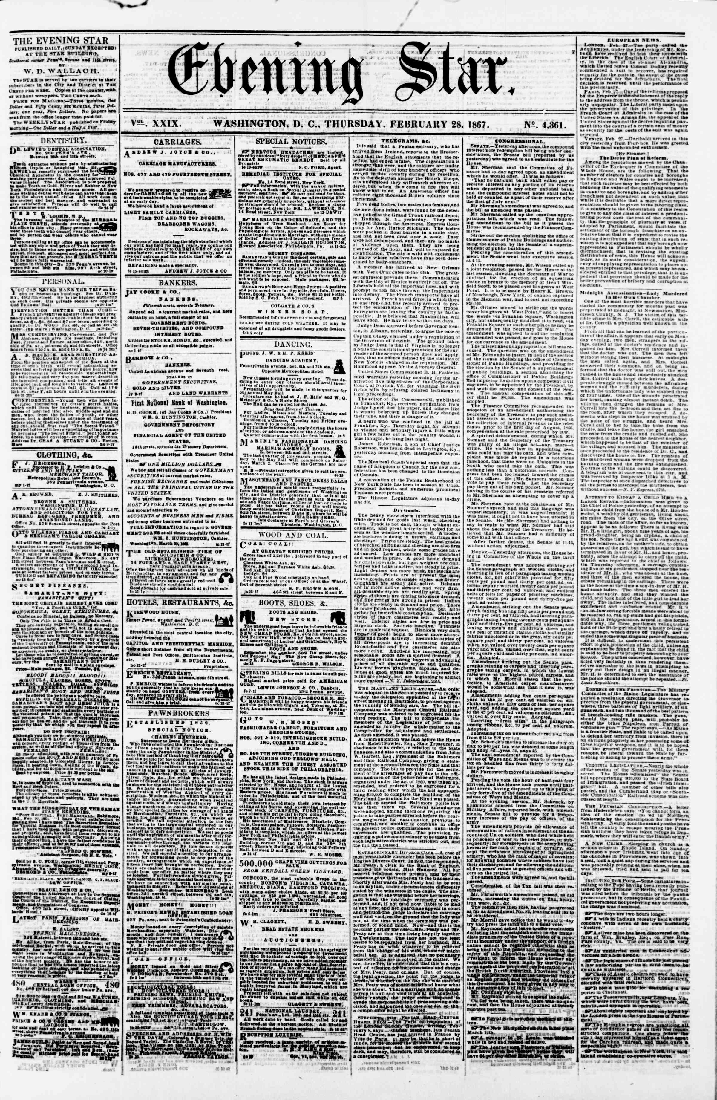 Newspaper of Evening Star dated February 28, 1867 Page 1