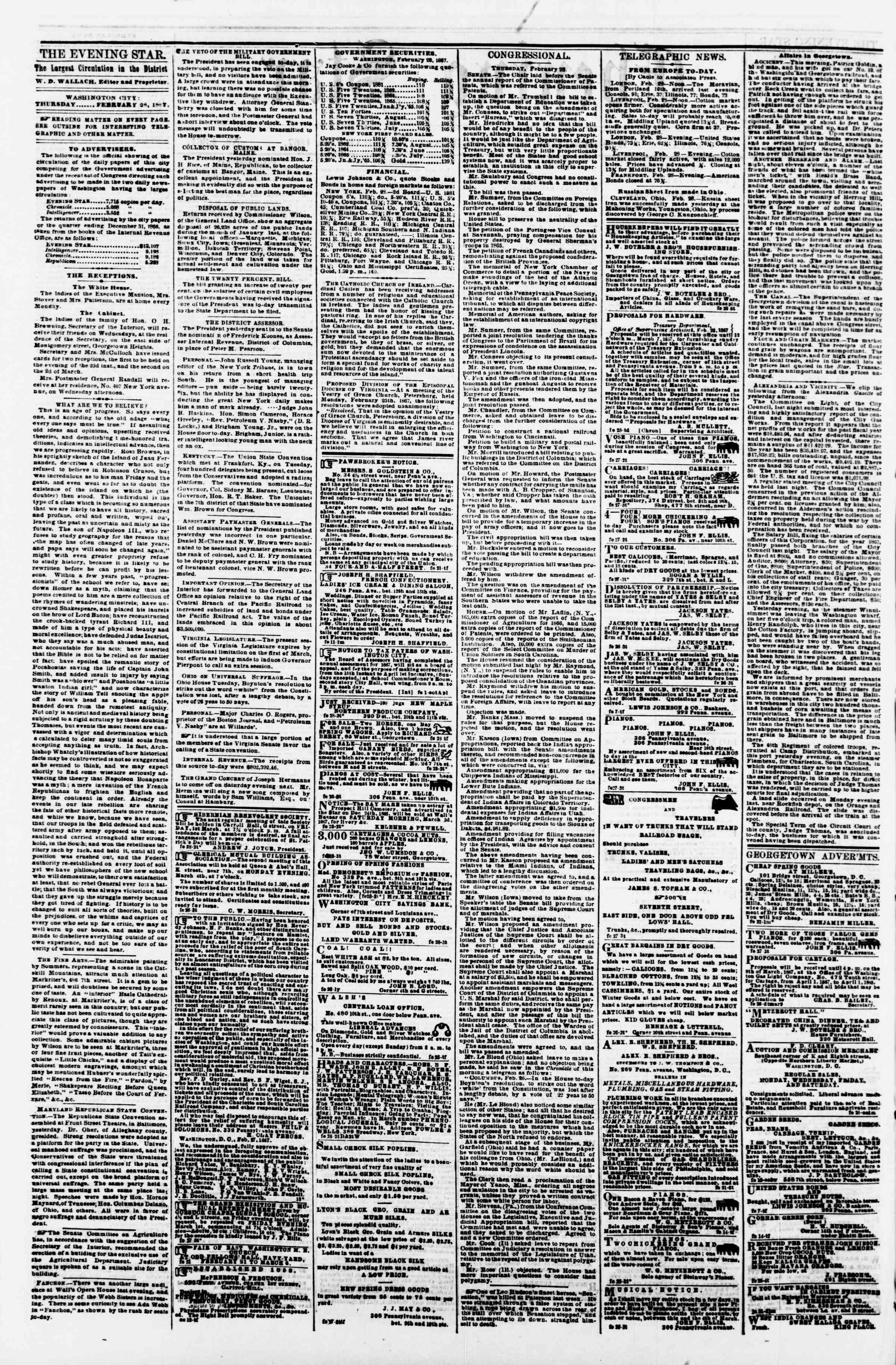 Newspaper of Evening Star dated February 28, 1867 Page 2