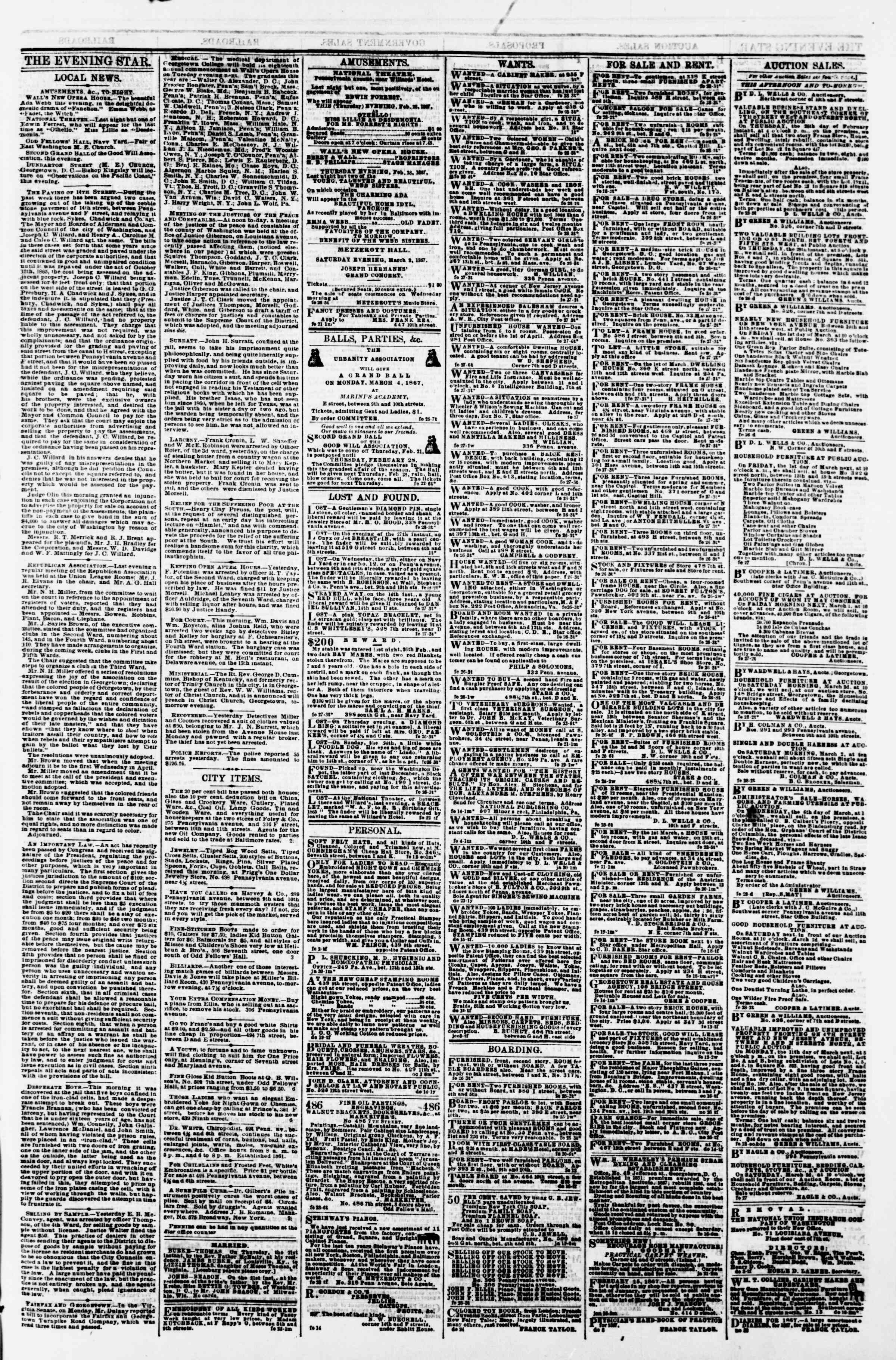 Newspaper of Evening Star dated February 28, 1867 Page 3