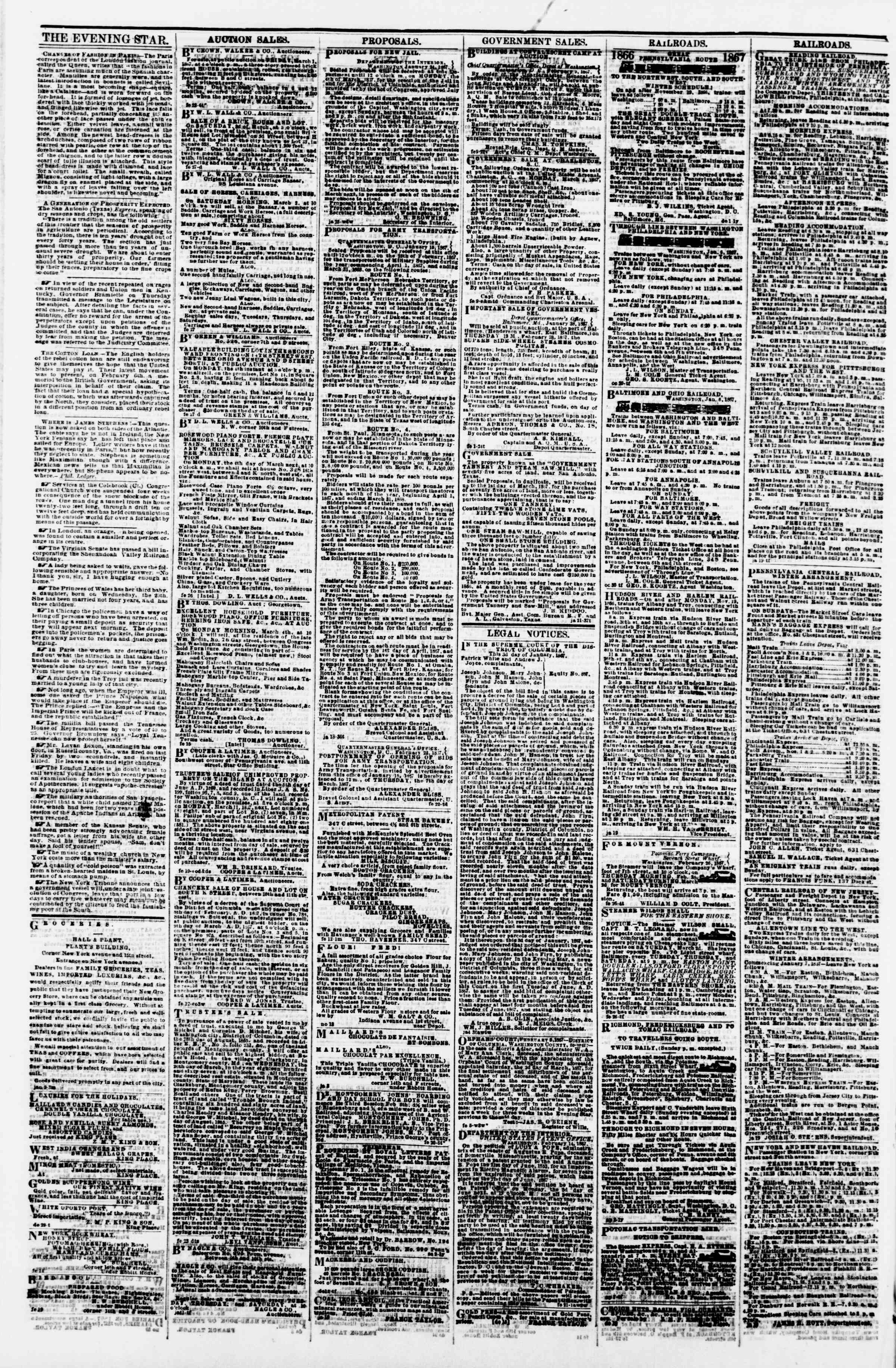 Newspaper of Evening Star dated February 28, 1867 Page 4