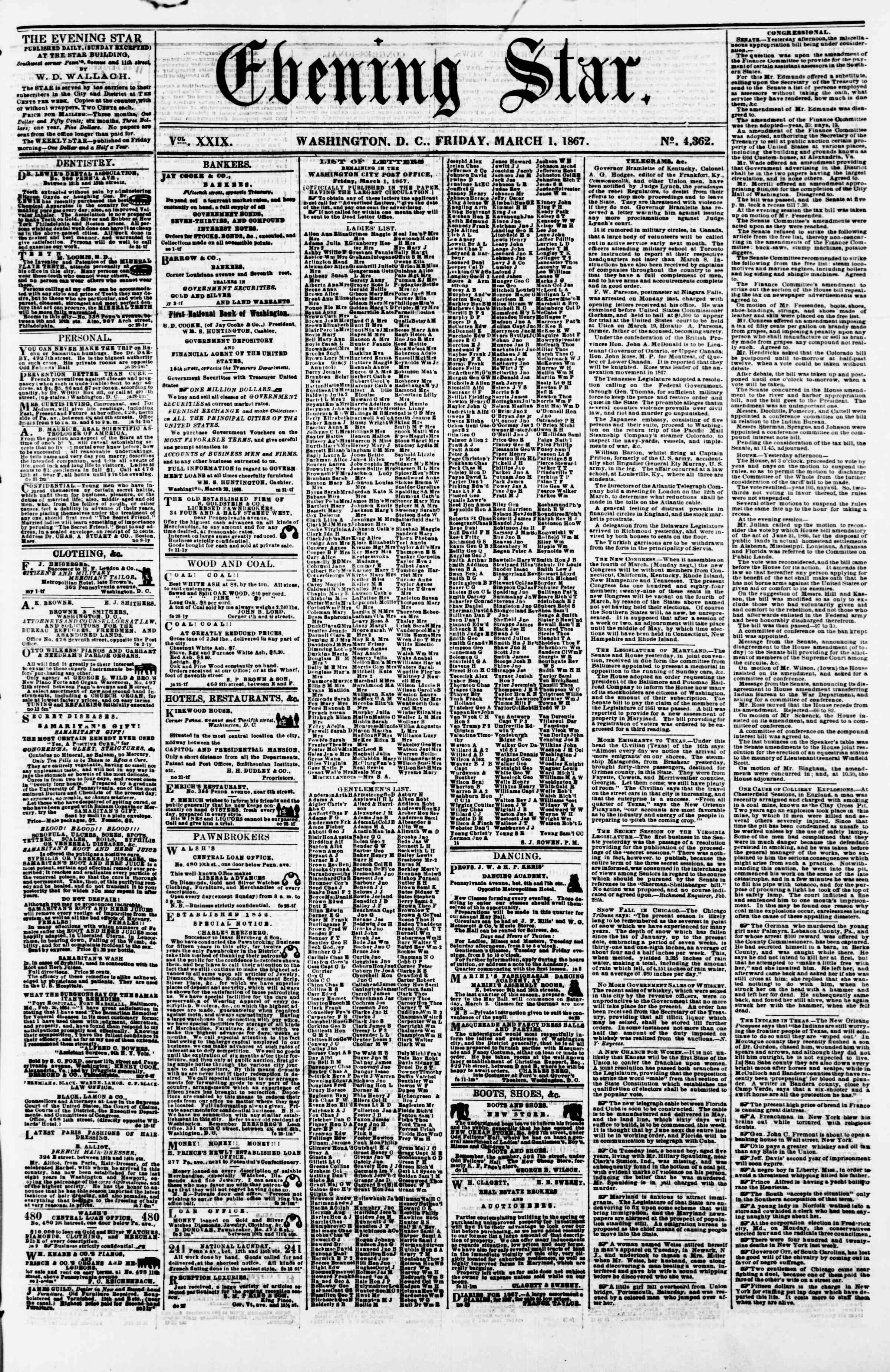 Newspaper of Evening Star dated March 1, 1867 Page 1