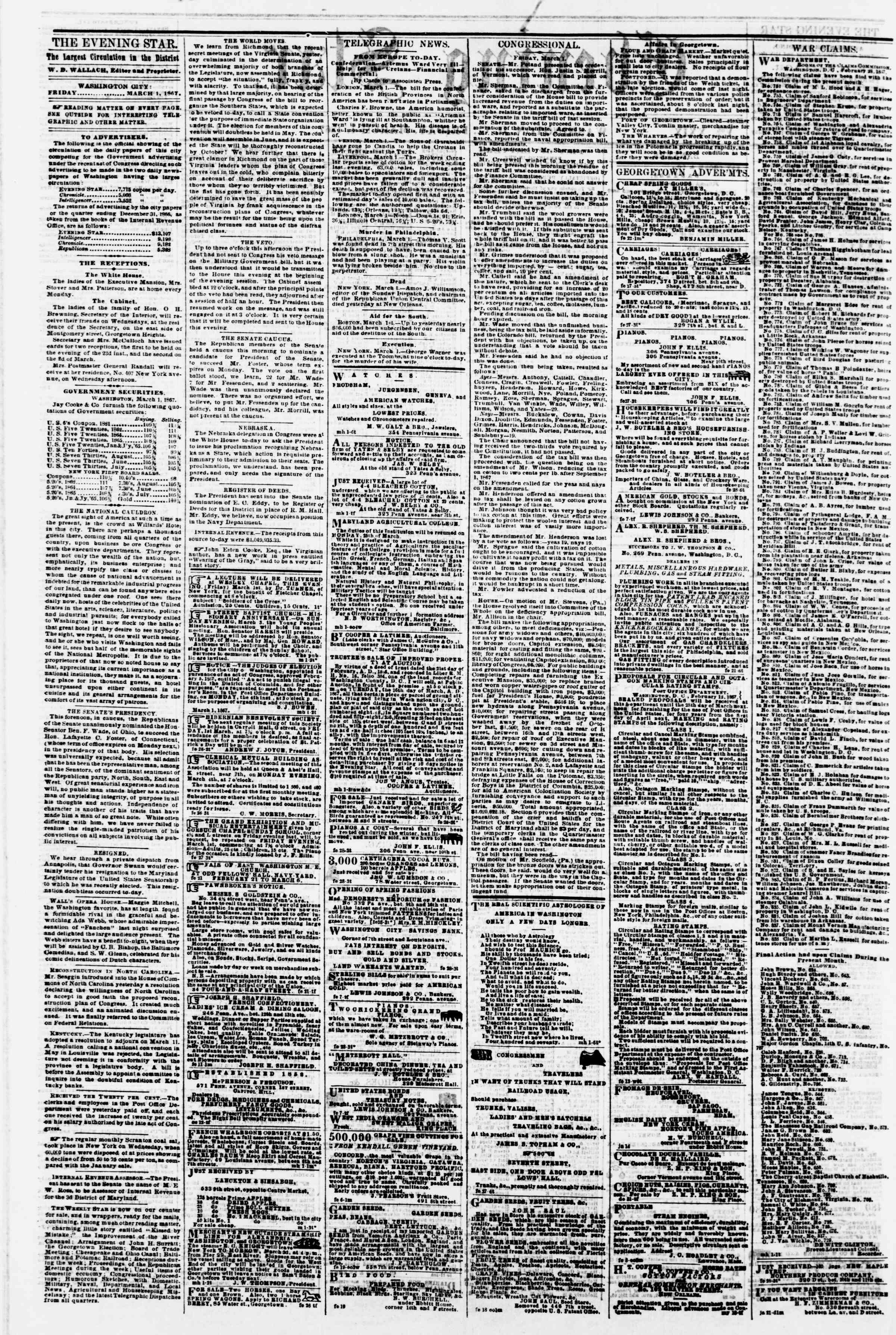 Newspaper of Evening Star dated March 1, 1867 Page 2