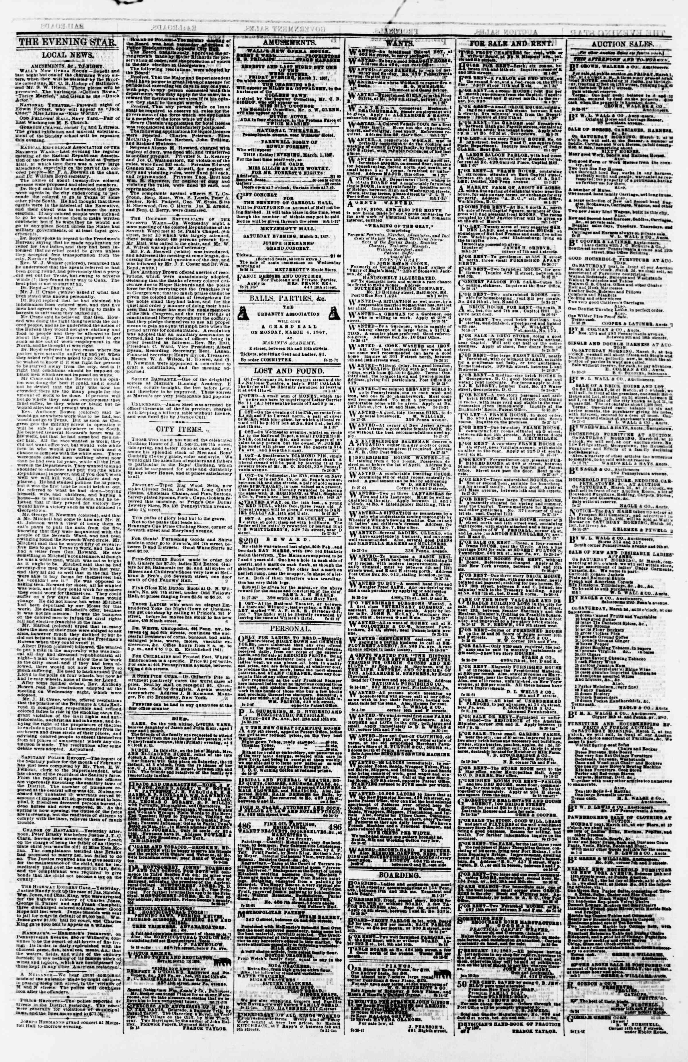 Newspaper of Evening Star dated March 1, 1867 Page 3