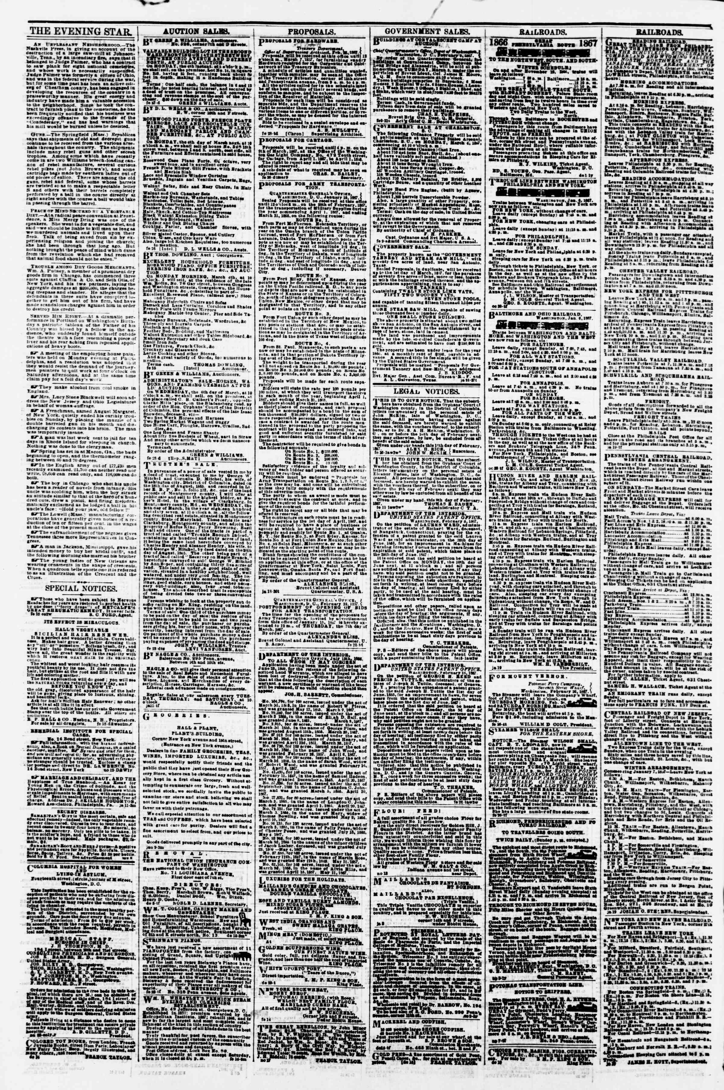 Newspaper of Evening Star dated 1 Mart 1867 Page 4