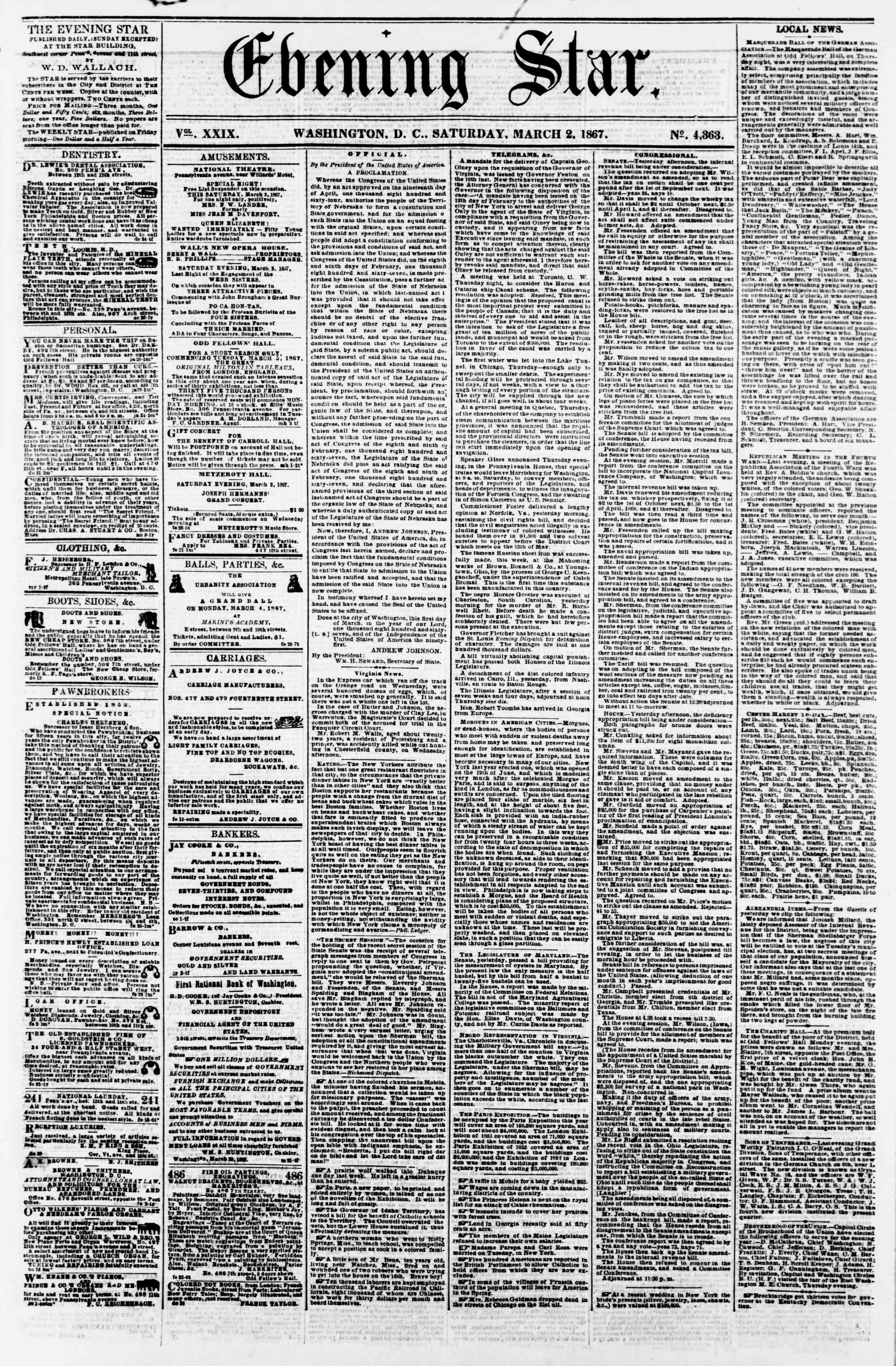 Newspaper of Evening Star dated March 2, 1867 Page 1