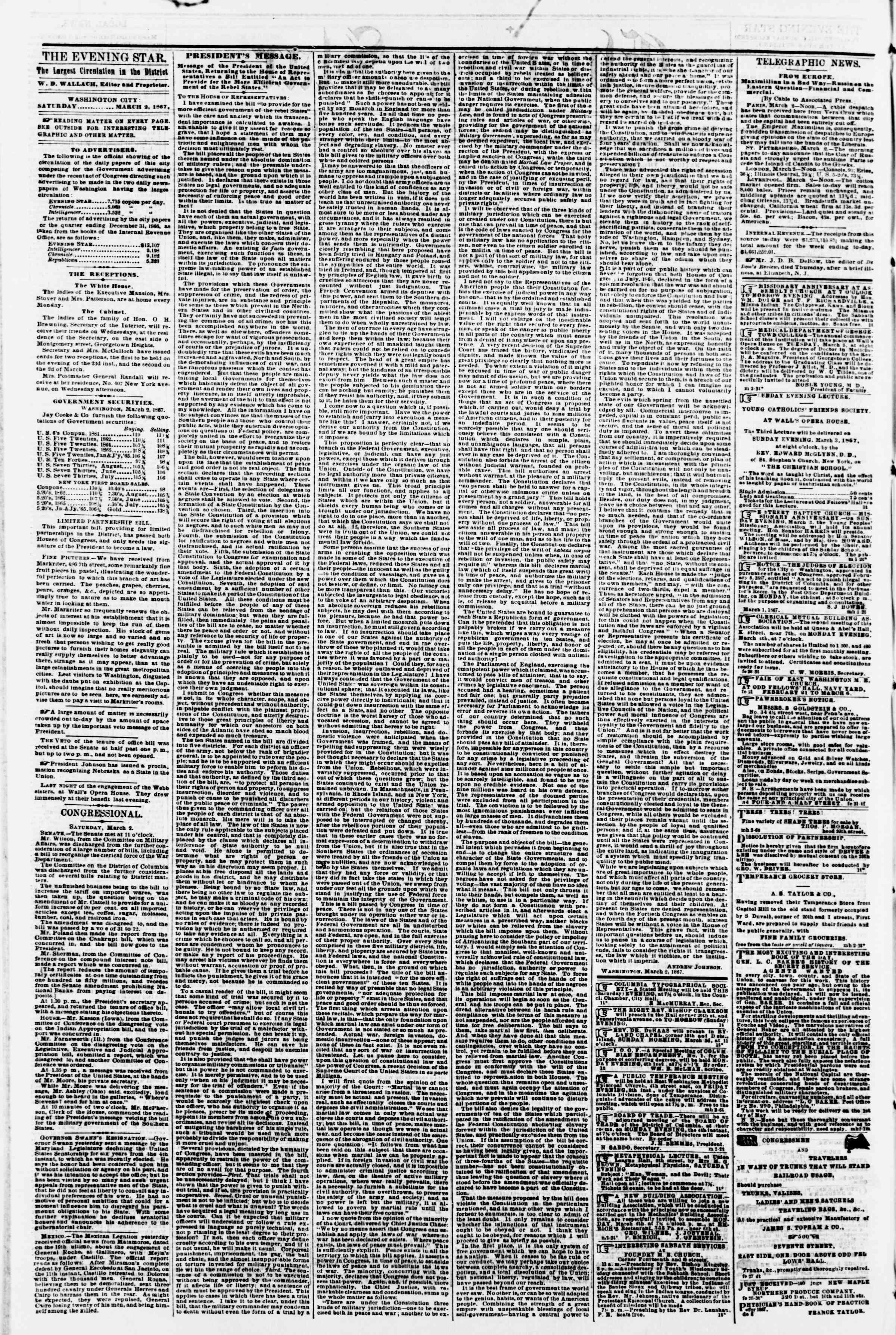 Newspaper of Evening Star dated March 2, 1867 Page 2