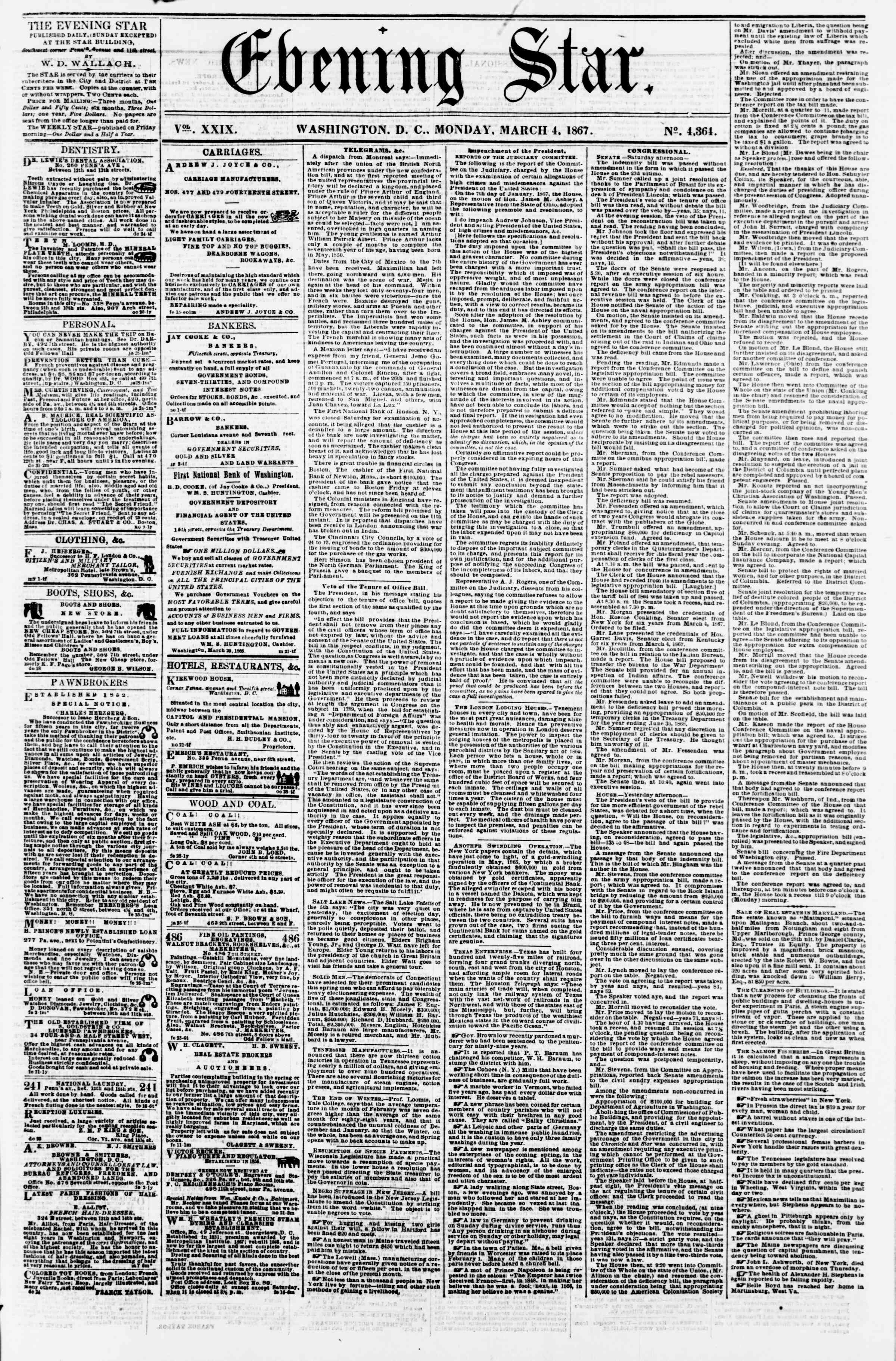 Newspaper of Evening Star dated March 4, 1867 Page 1