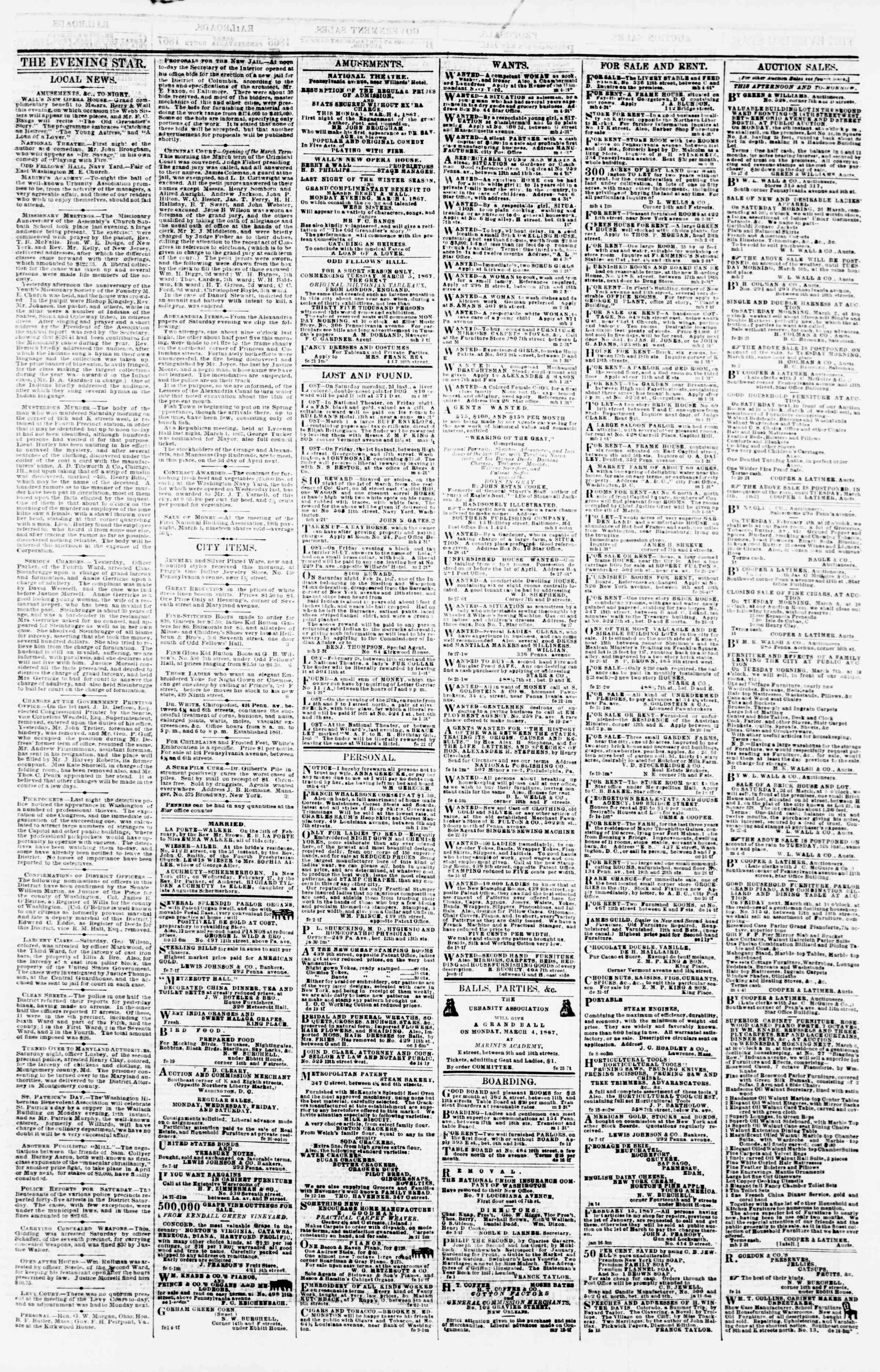 Newspaper of Evening Star dated March 4, 1867 Page 3