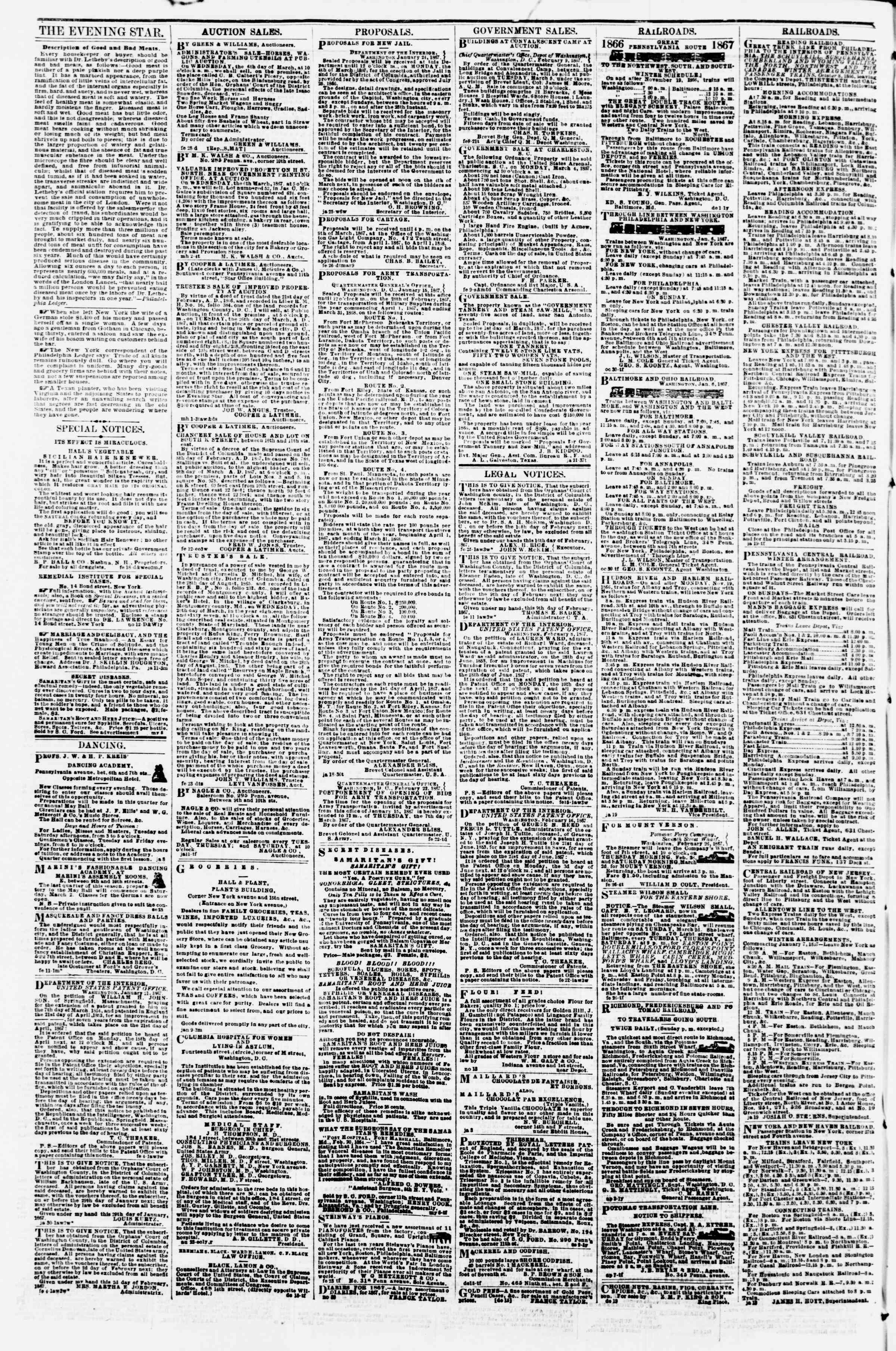 Newspaper of Evening Star dated March 4, 1867 Page 4
