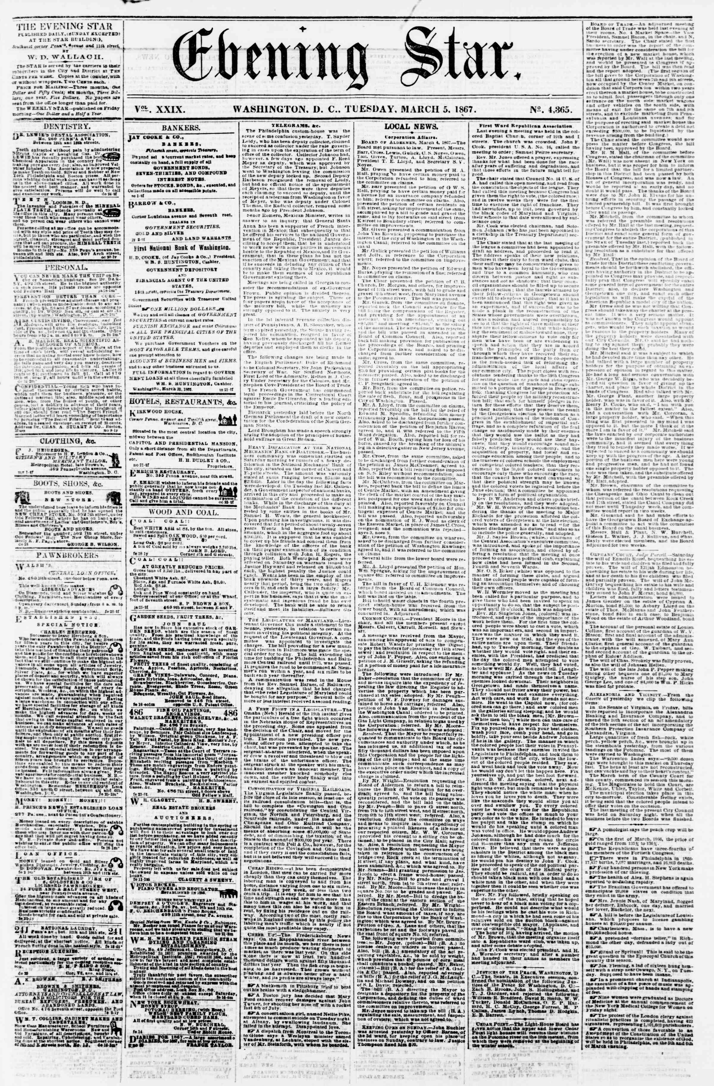 Newspaper of Evening Star dated March 5, 1867 Page 1