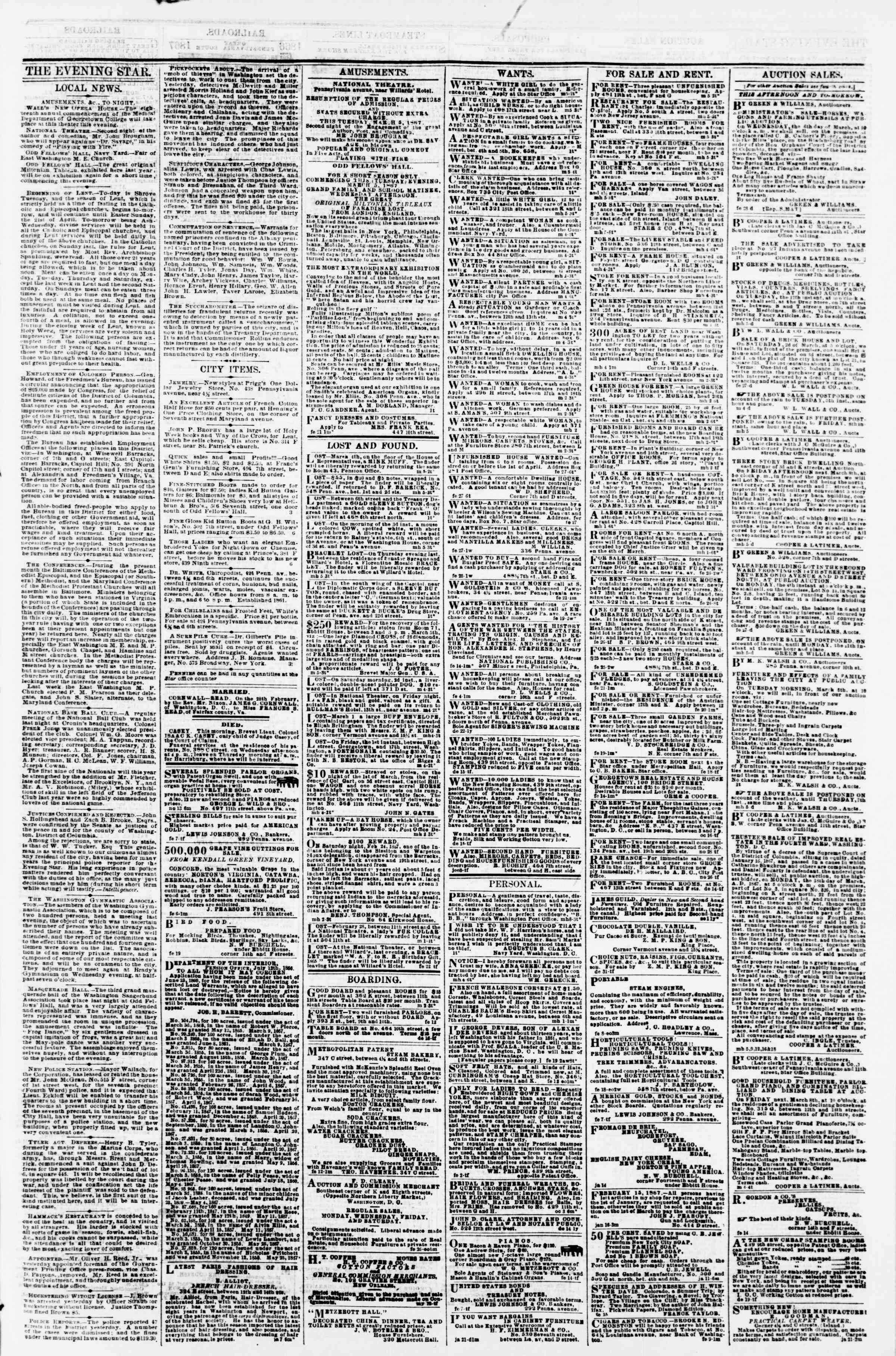 Newspaper of Evening Star dated March 5, 1867 Page 3