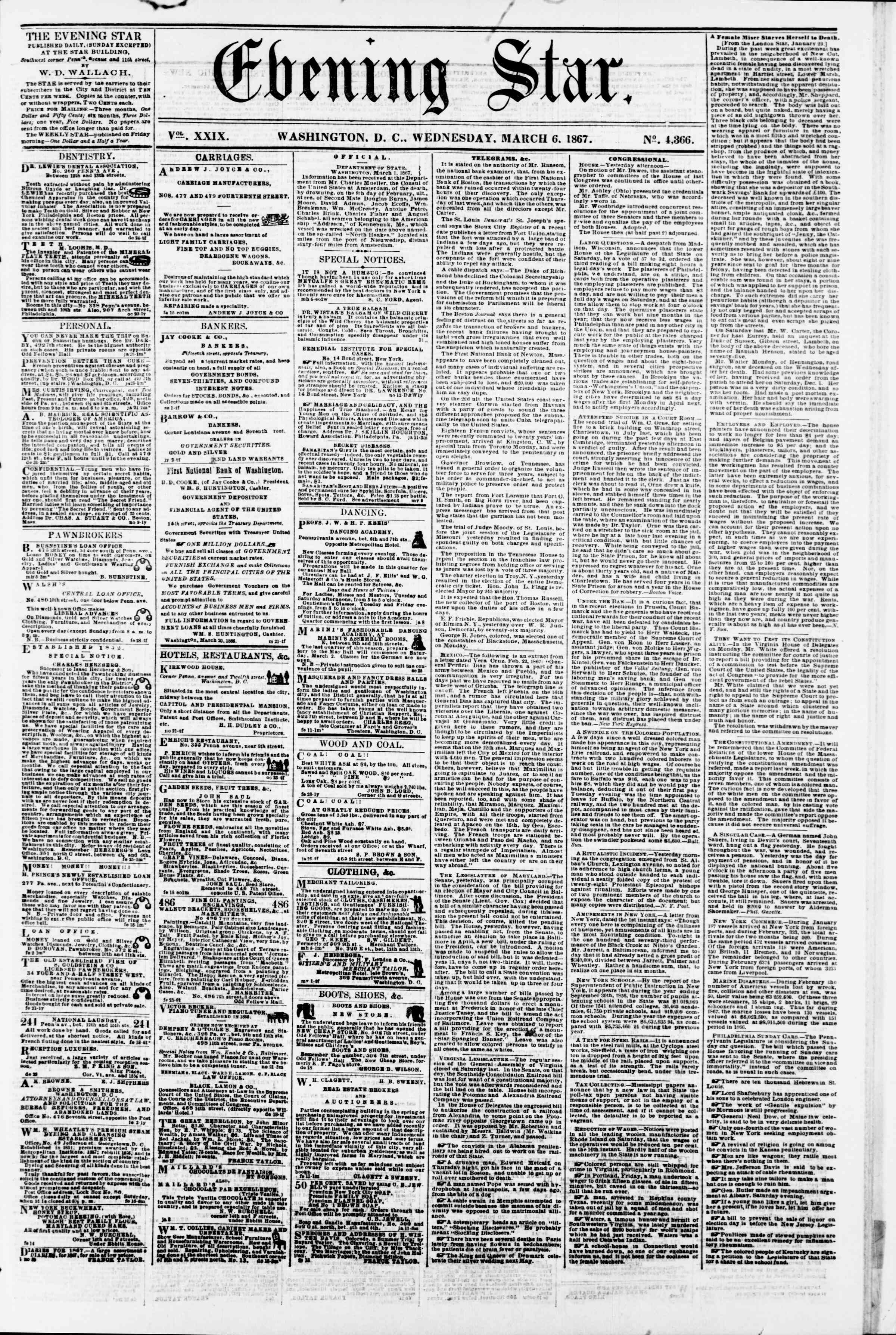 Newspaper of Evening Star dated March 6, 1867 Page 1